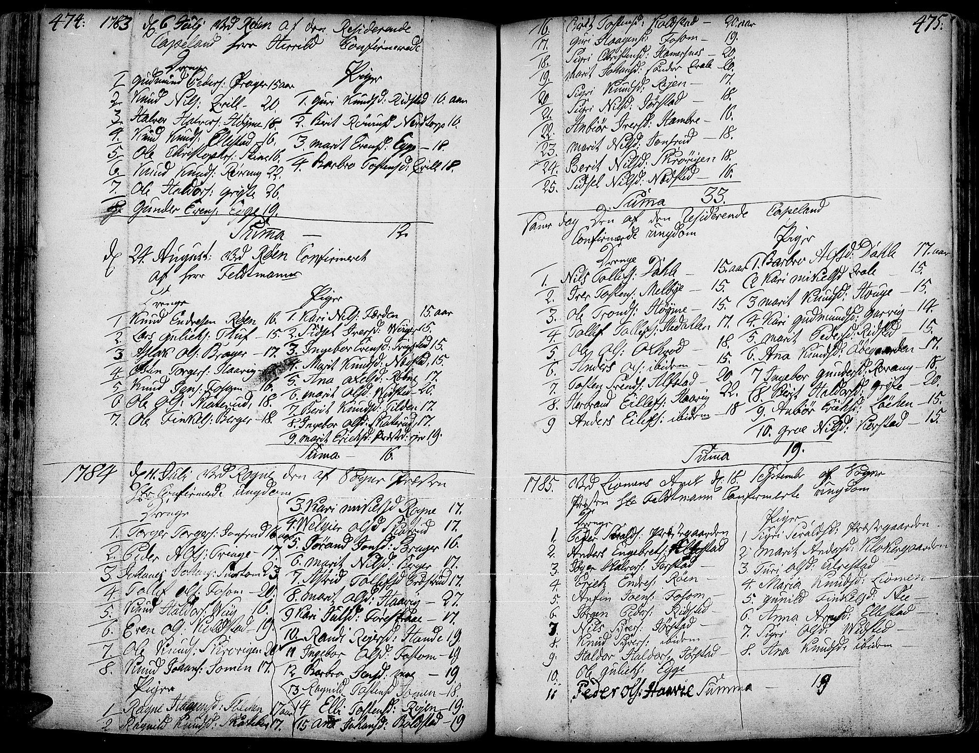 SAH, Slidre prestekontor, Ministerialbok nr. 1, 1724-1814, s. 474-475