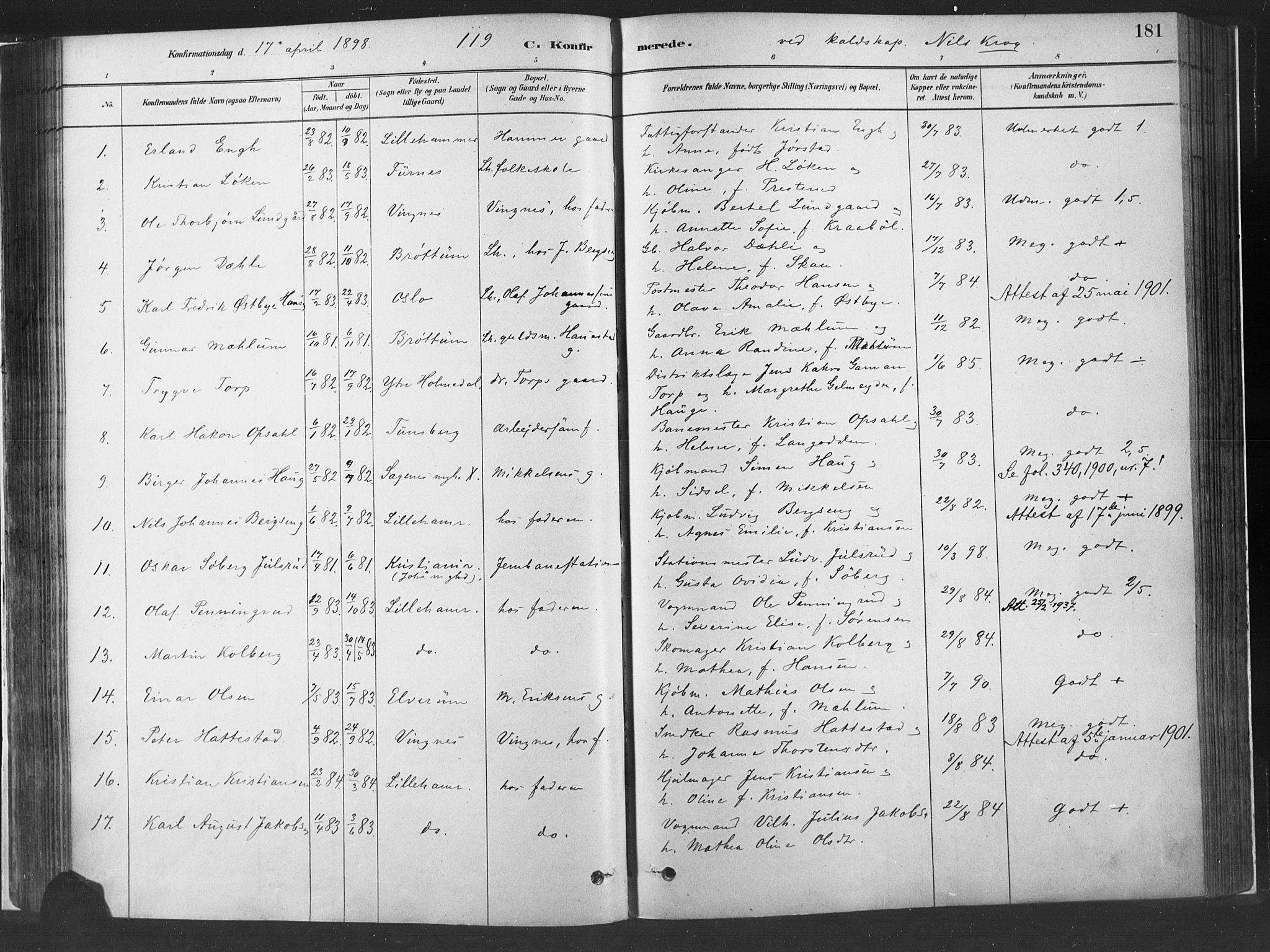SAH, Fåberg prestekontor, Ministerialbok nr. 10, 1879-1900, s. 181