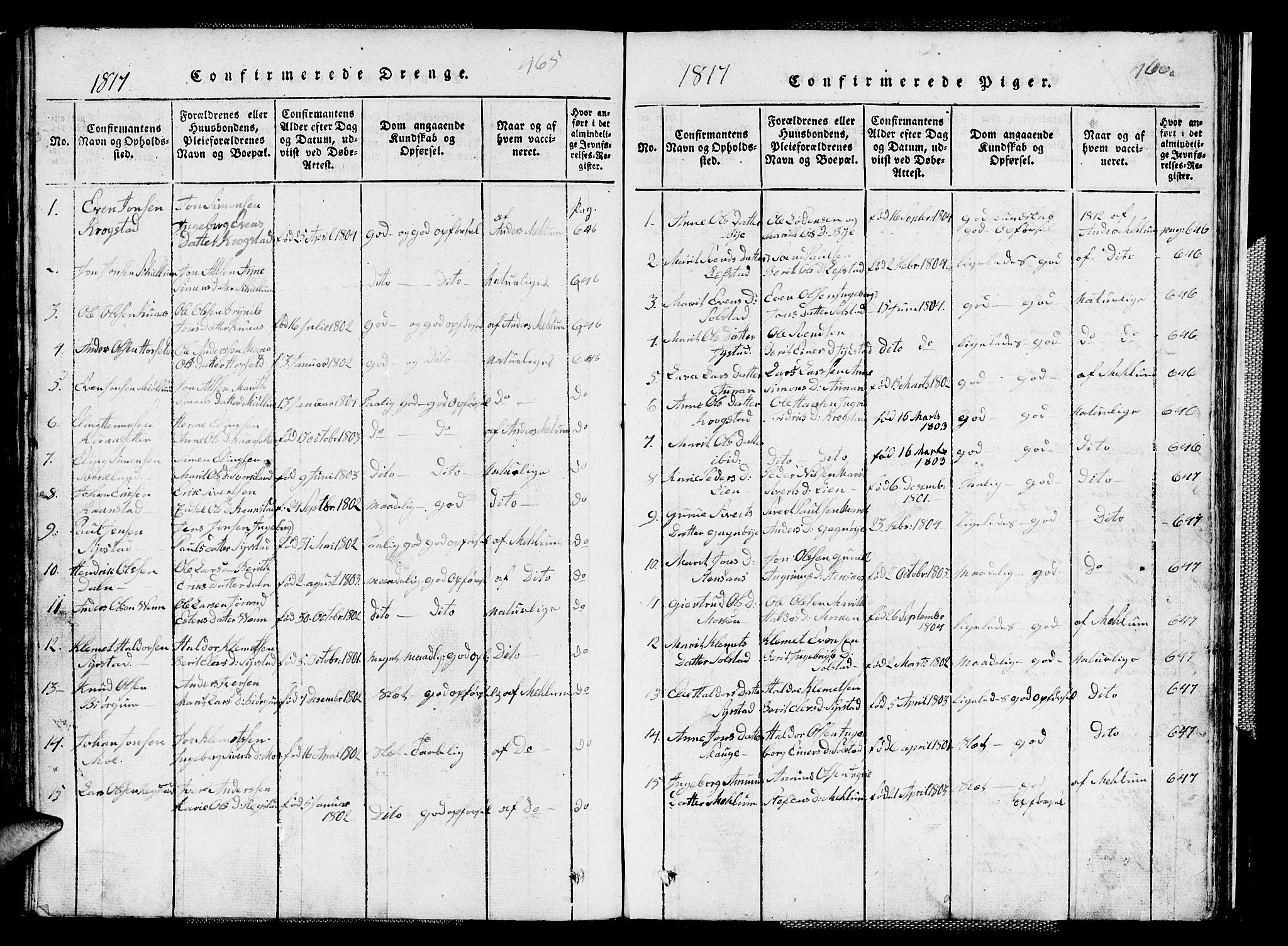 SAT, Ministerialprotokoller, klokkerbøker og fødselsregistre - Sør-Trøndelag, 667/L0796: Klokkerbok nr. 667C01, 1817-1836, s. 465-466