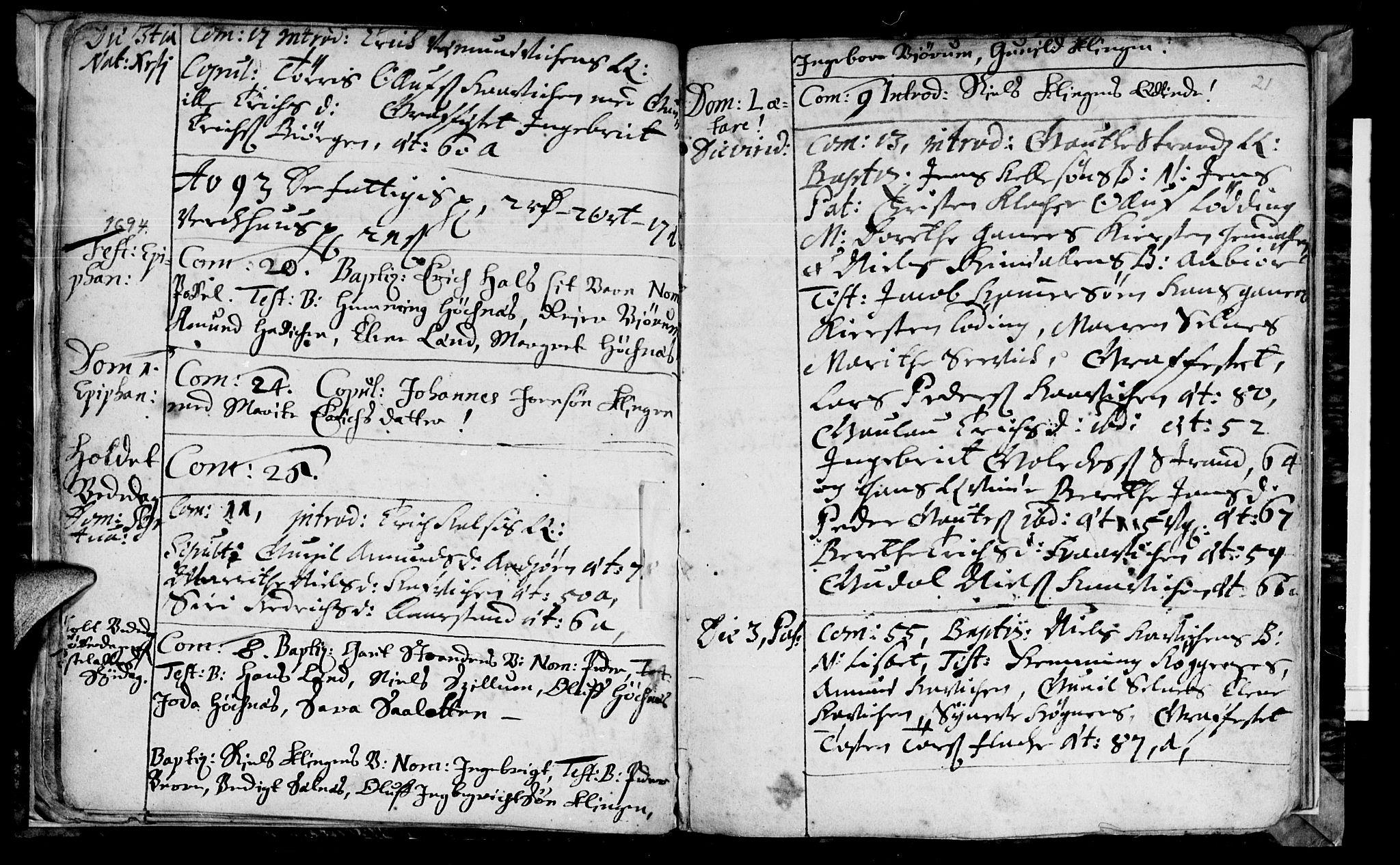 SAT, Ministerialprotokoller, klokkerbøker og fødselsregistre - Nord-Trøndelag, 770/L0587: Ministerialbok nr. 770A01, 1689-1697, s. 20-21