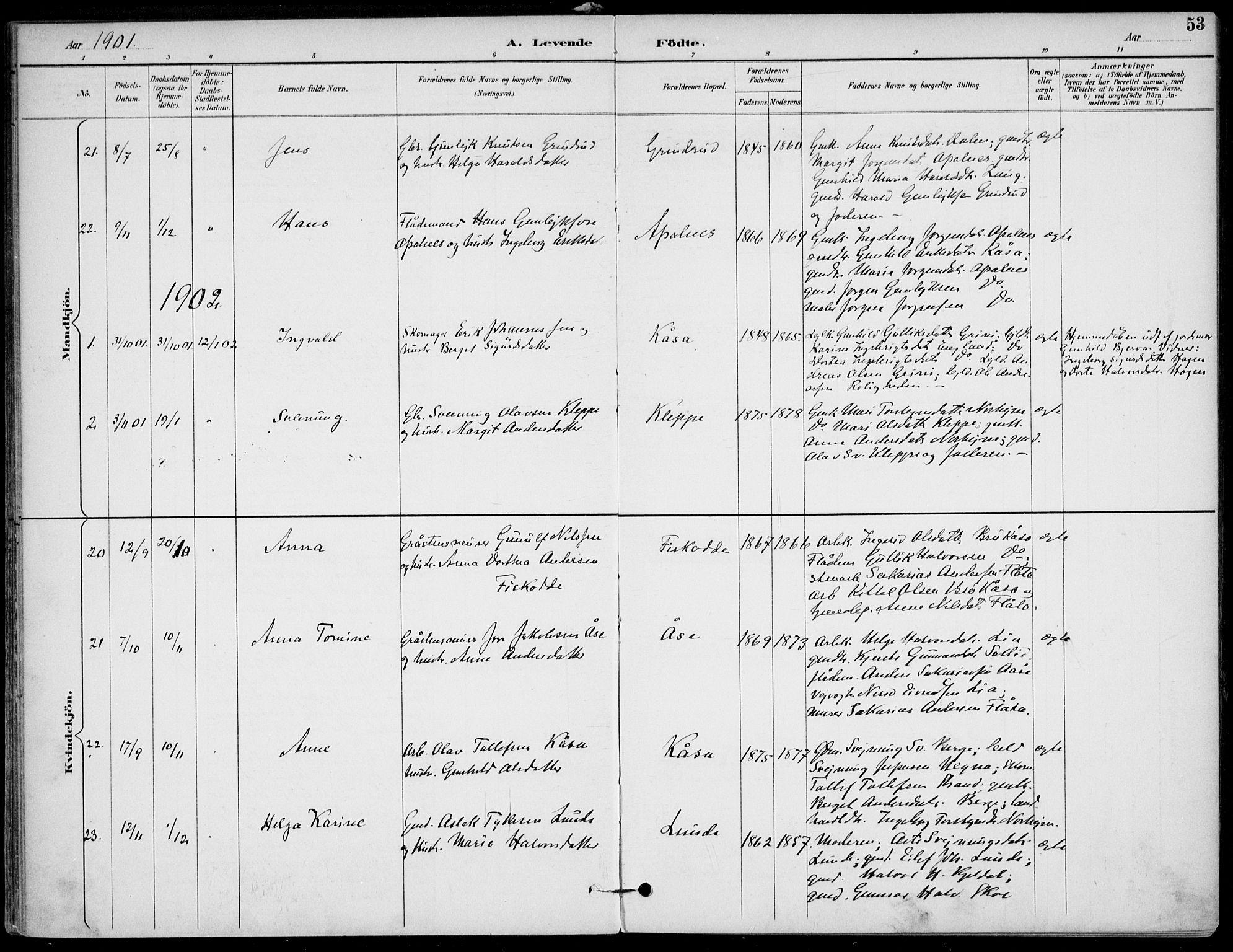 SAKO, Lunde kirkebøker, F/Fa/L0003: Ministerialbok nr. I 3, 1893-1902, s. 53