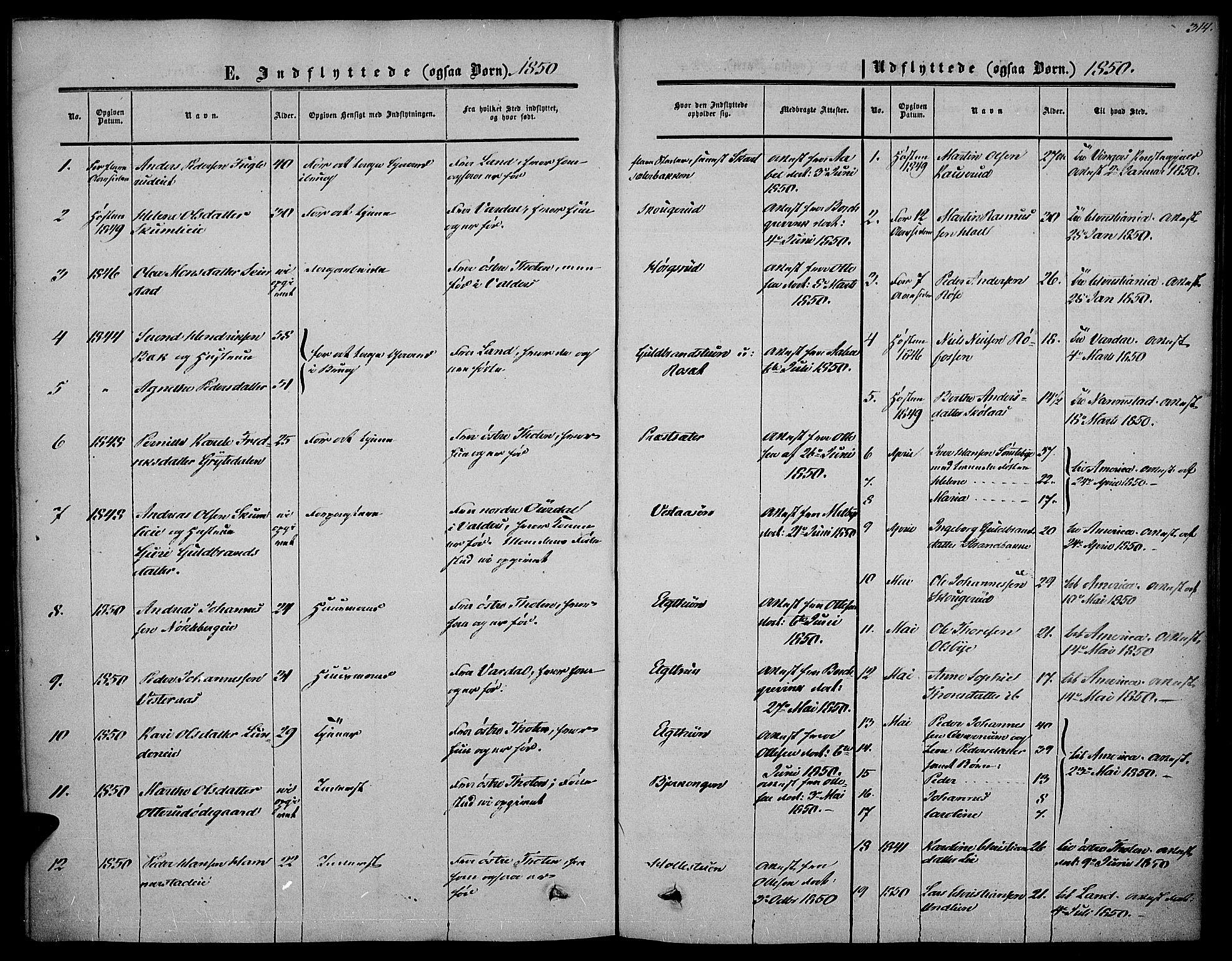 SAH, Vestre Toten prestekontor, H/Ha/Haa/L0005: Ministerialbok nr. 5, 1850-1855, s. 314