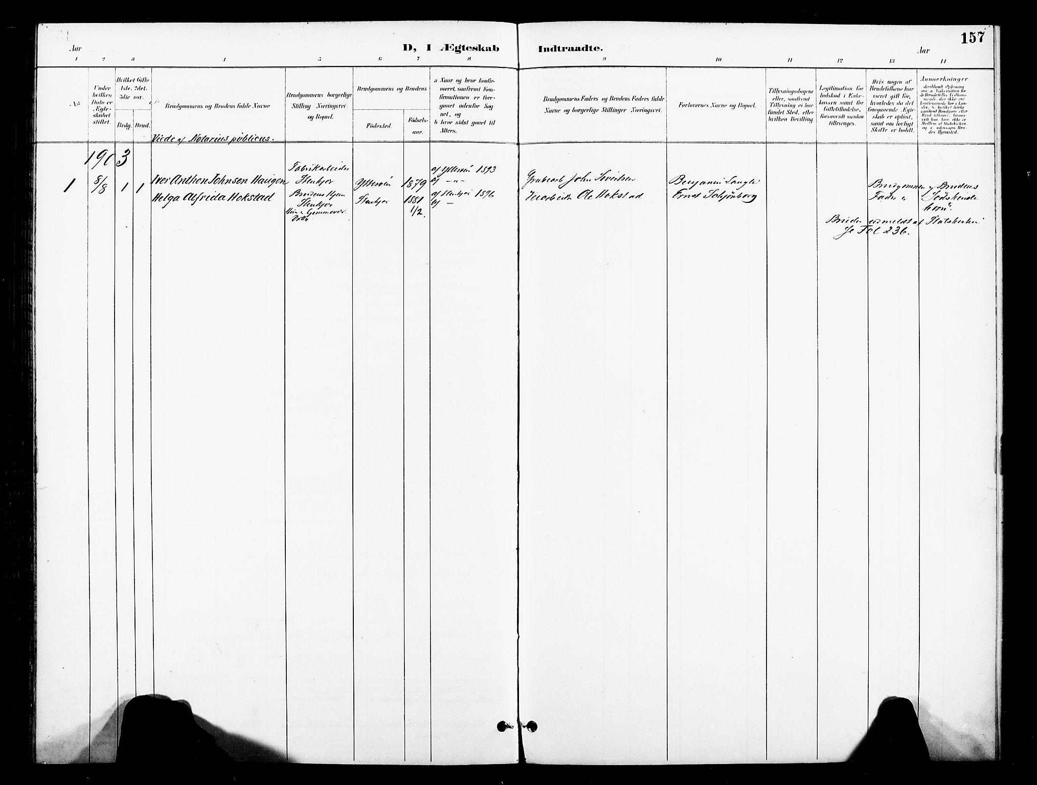 SAT, Ministerialprotokoller, klokkerbøker og fødselsregistre - Nord-Trøndelag, 739/L0372: Ministerialbok nr. 739A04, 1895-1903, s. 157