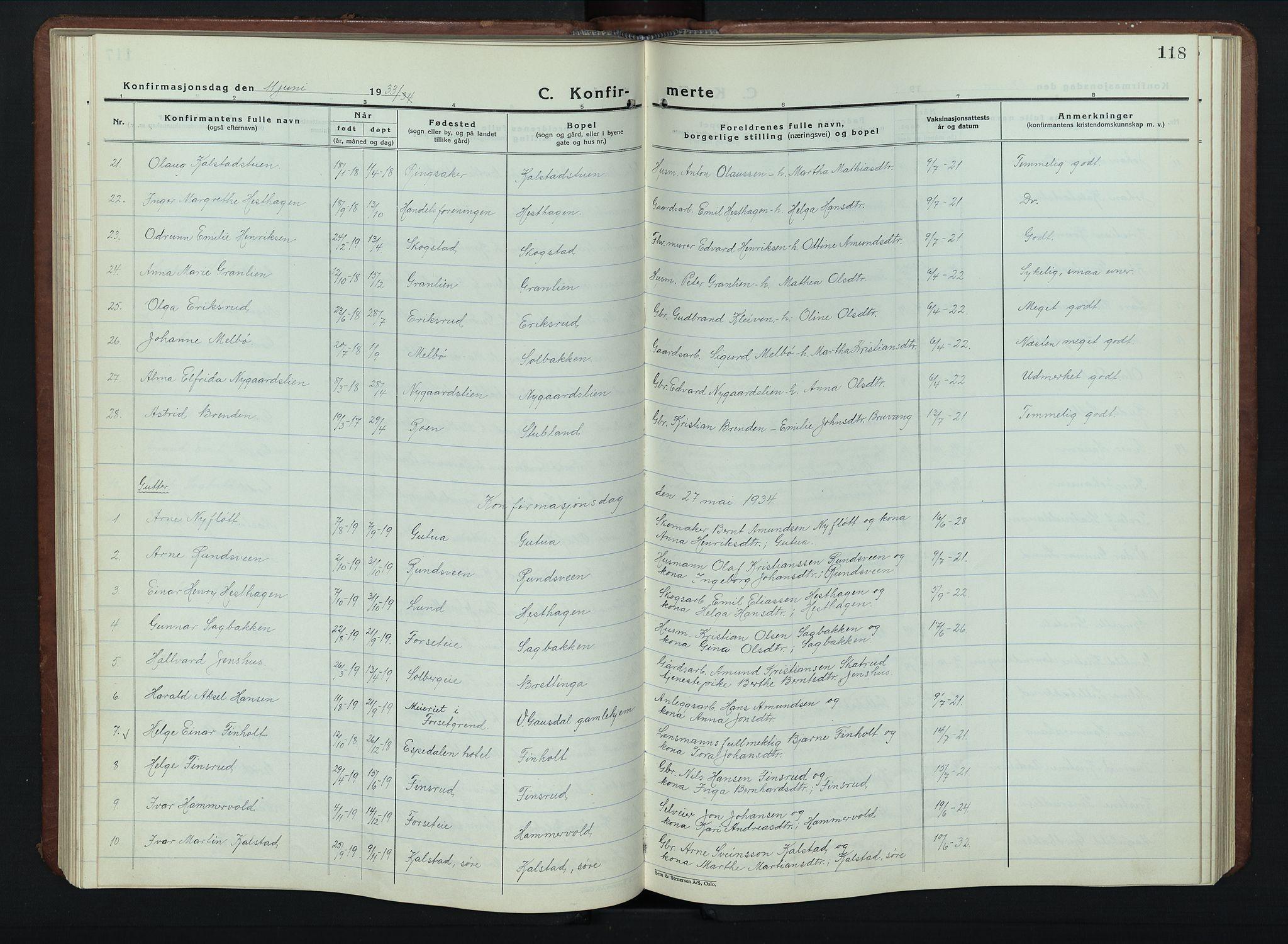 SAH, Vestre Gausdal prestekontor, Klokkerbok nr. 5, 1926-1955, s. 118