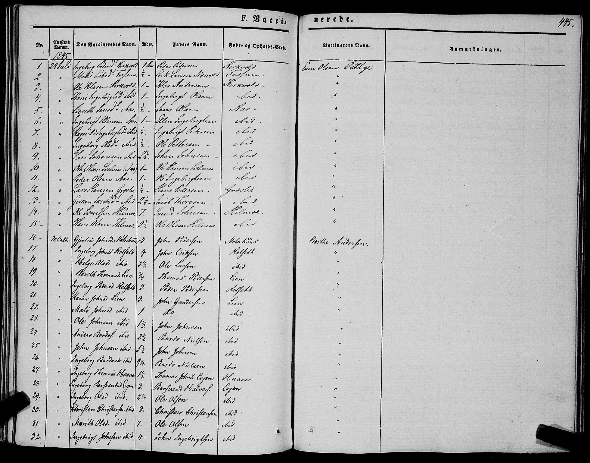 SAT, Ministerialprotokoller, klokkerbøker og fødselsregistre - Sør-Trøndelag, 695/L1145: Ministerialbok nr. 695A06 /1, 1843-1859, s. 445