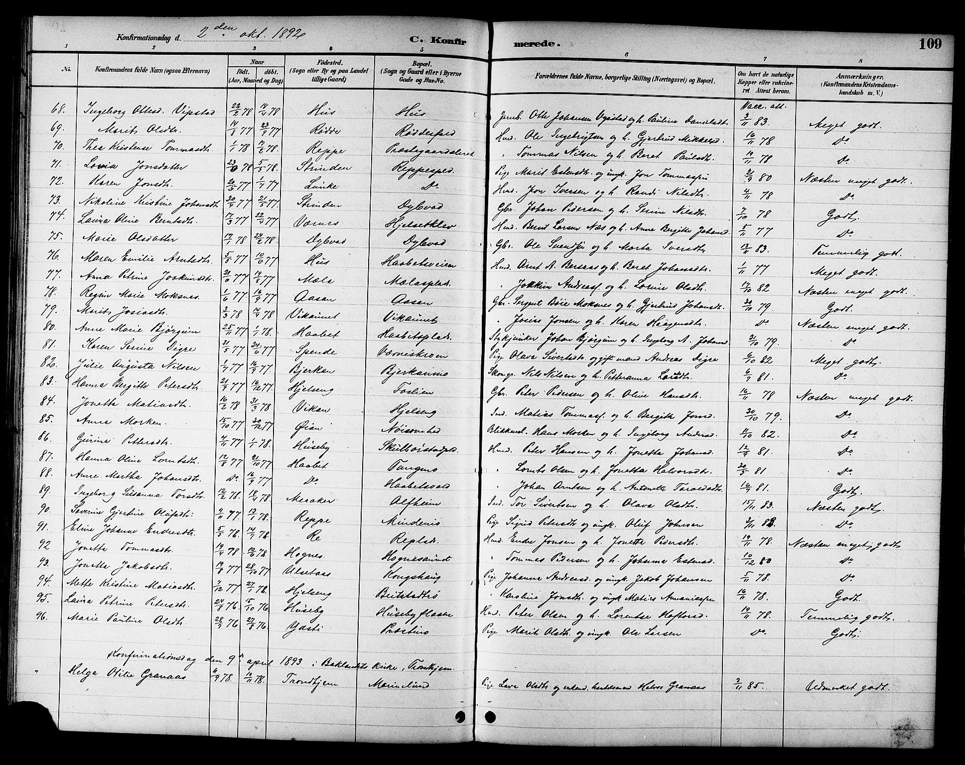 SAT, Ministerialprotokoller, klokkerbøker og fødselsregistre - Nord-Trøndelag, 709/L0087: Klokkerbok nr. 709C01, 1892-1913, s. 109