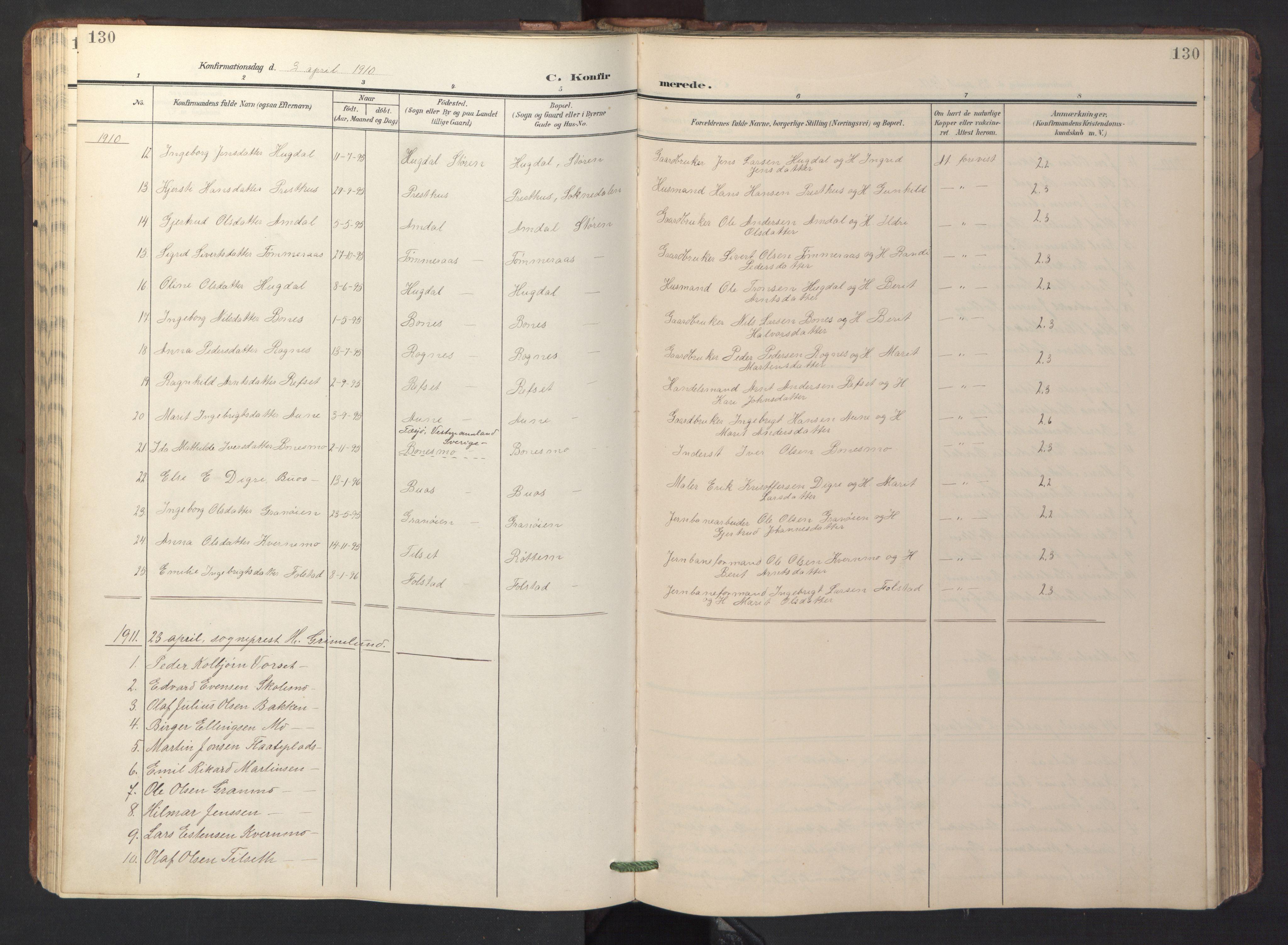 SAT, Ministerialprotokoller, klokkerbøker og fødselsregistre - Sør-Trøndelag, 687/L1019: Klokkerbok nr. 687C03, 1904-1931, s. 130