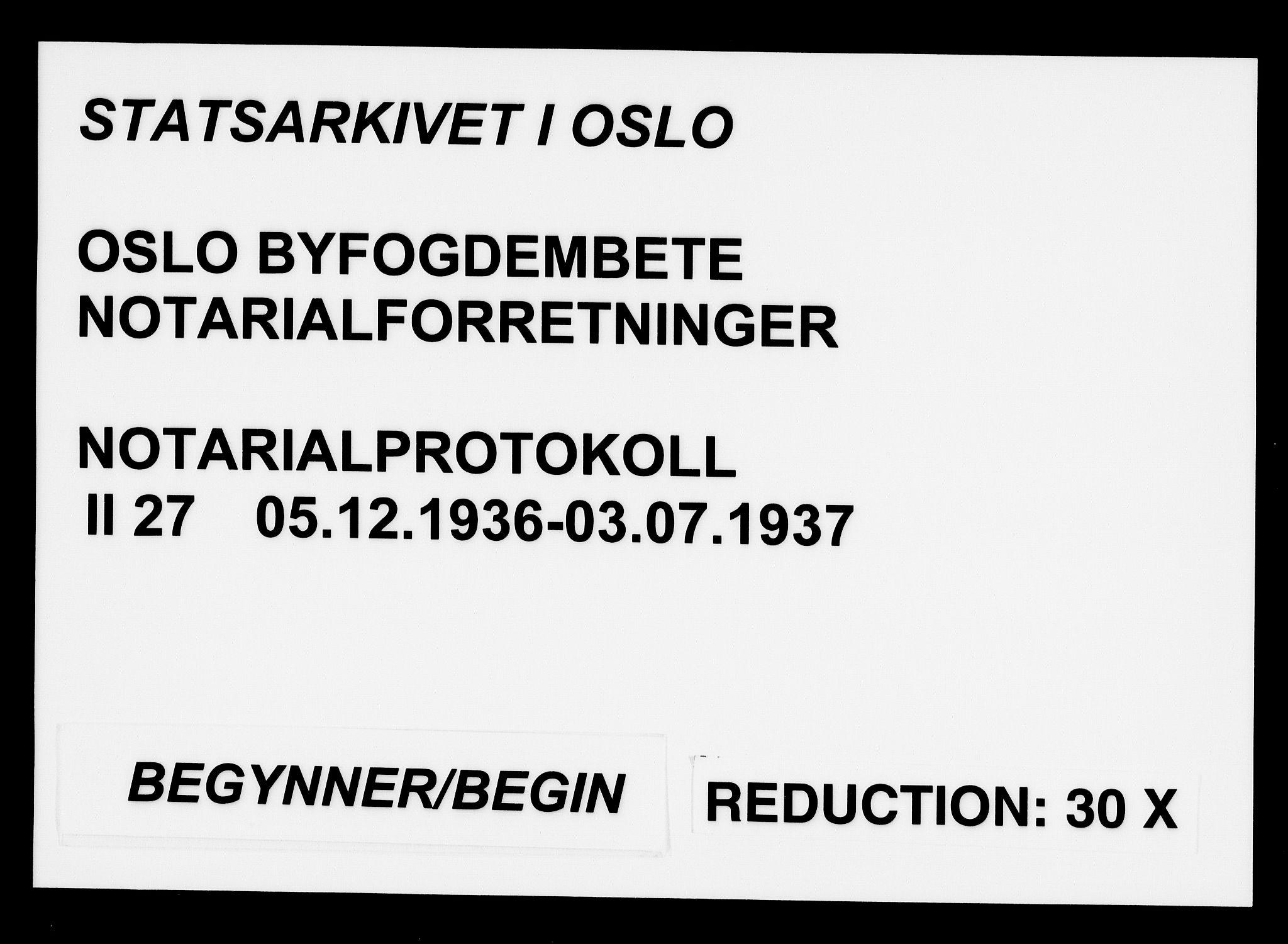 SAO, Oslo byfogd avd. I, L/Lb/Lbb/L0027: Notarialprotokoll, rekke II: Vigsler, 1936-1937, s. upaginert