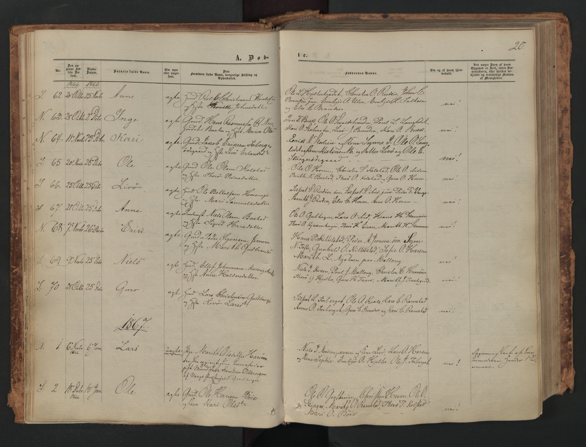 SAH, Skjåk prestekontor, Ministerialbok nr. 1, 1863-1879, s. 20