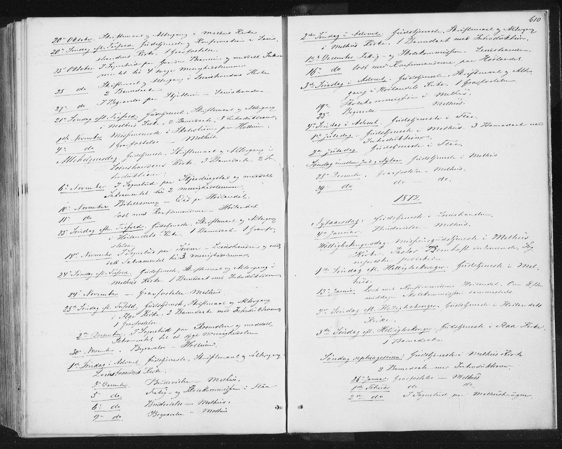 SAT, Ministerialprotokoller, klokkerbøker og fødselsregistre - Sør-Trøndelag, 691/L1077: Ministerialbok nr. 691A09, 1862-1873, s. 610