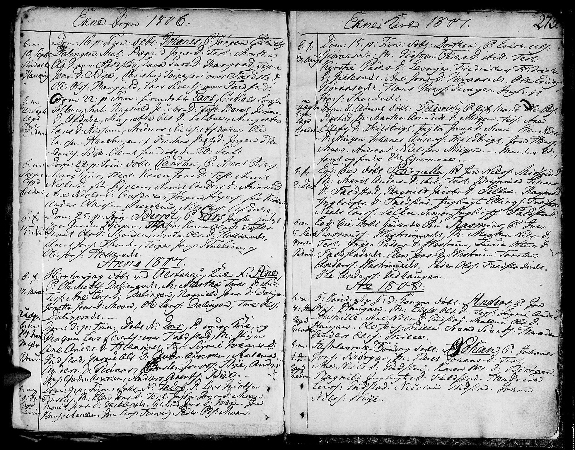 SAT, Ministerialprotokoller, klokkerbøker og fødselsregistre - Nord-Trøndelag, 717/L0143: Ministerialbok nr. 717A02 /2, 1806-1809, s. 273