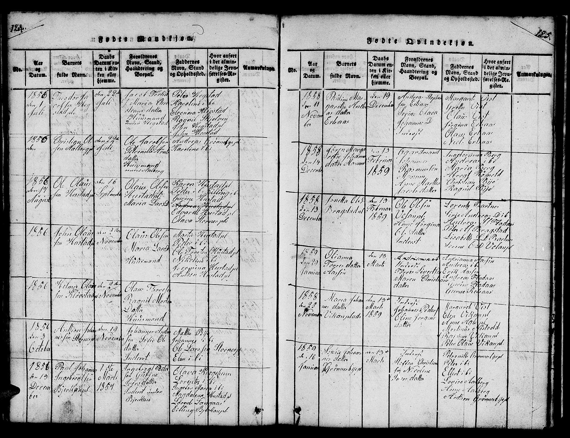 SAT, Ministerialprotokoller, klokkerbøker og fødselsregistre - Nord-Trøndelag, 732/L0317: Klokkerbok nr. 732C01, 1816-1881, s. 124-125