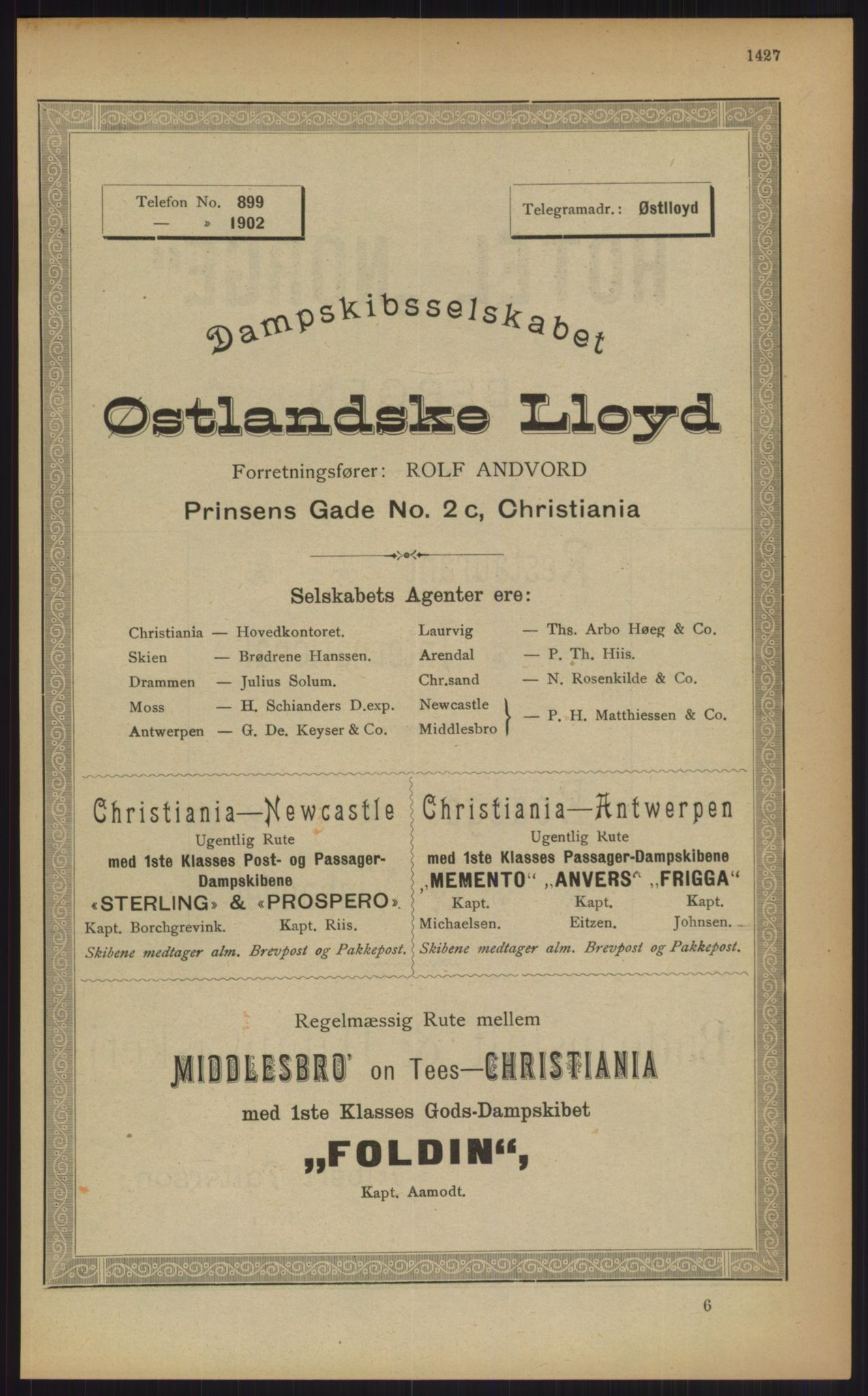 RA, Kristiania adressebok (publikasjon)*, 1903, s. 1427