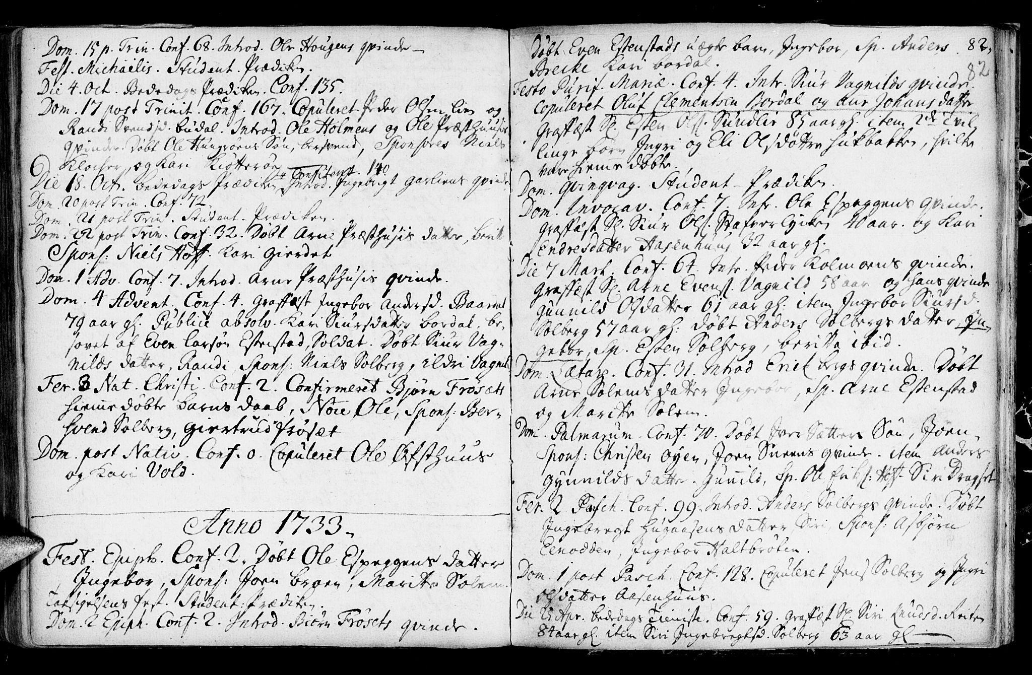 SAT, Ministerialprotokoller, klokkerbøker og fødselsregistre - Sør-Trøndelag, 689/L1036: Ministerialbok nr. 689A01, 1696-1746, s. 82
