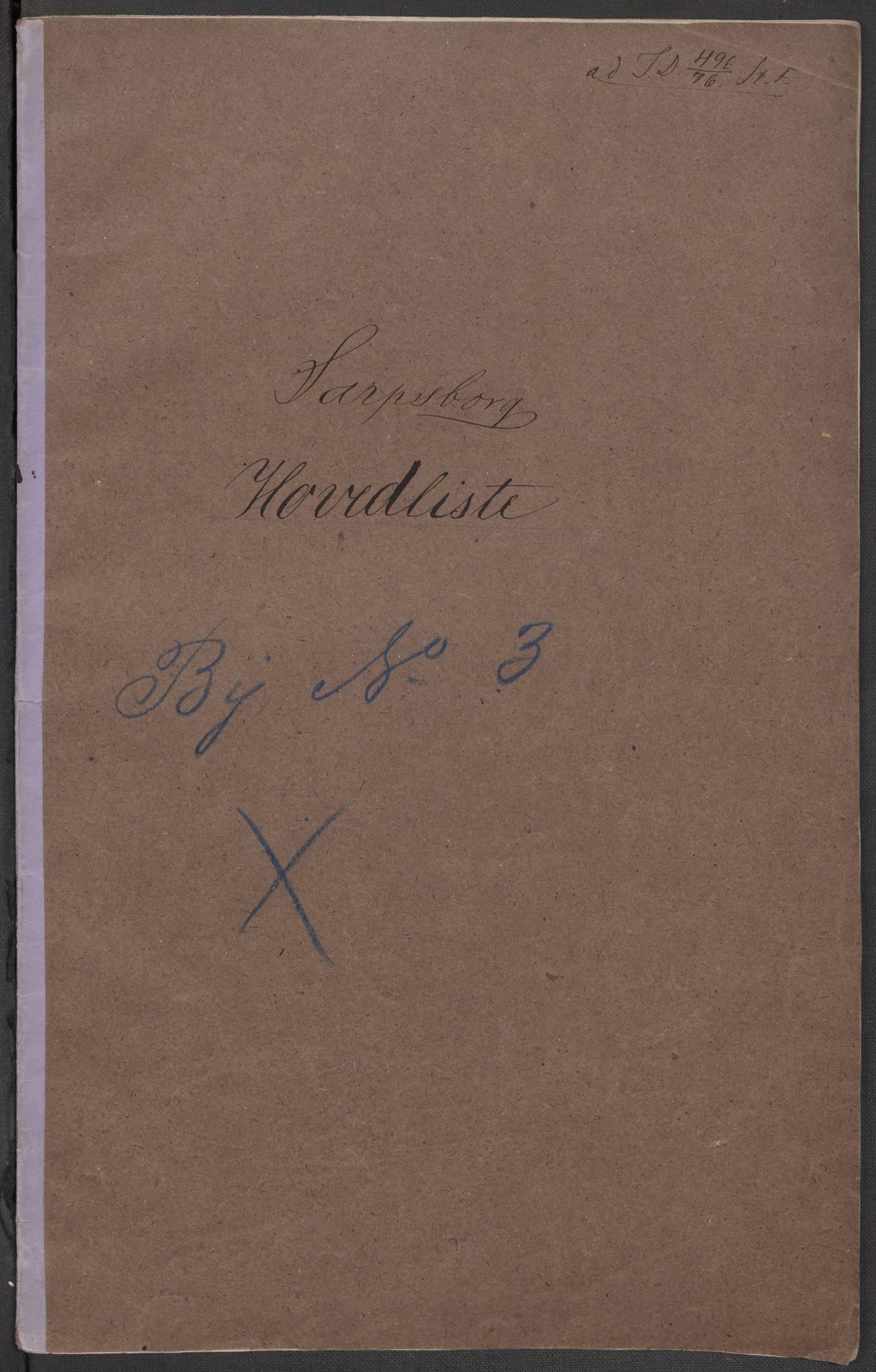RA, Folketelling 1875 for 0102P Sarpsborg prestegjeld, 1875, s. 1