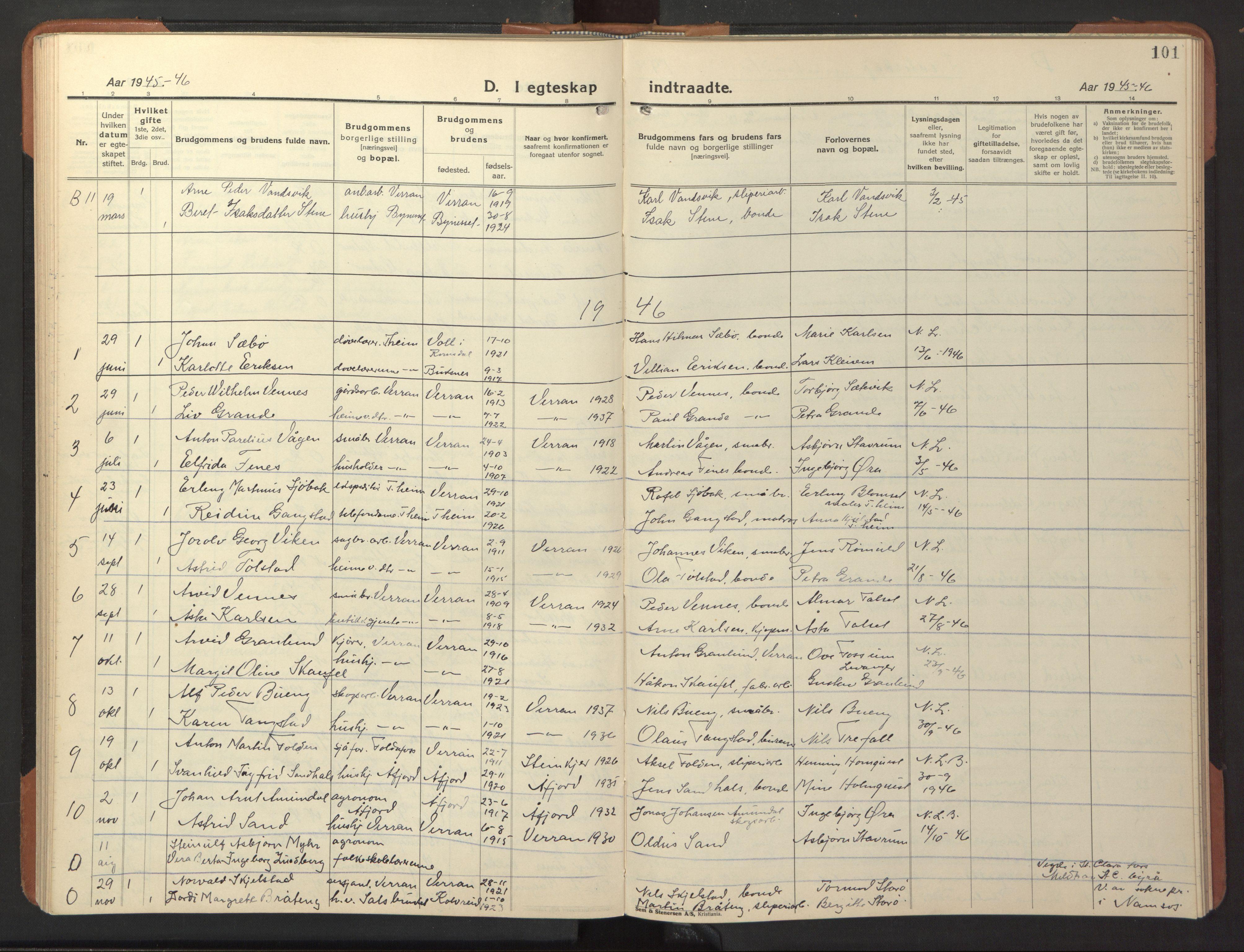 SAT, Ministerialprotokoller, klokkerbøker og fødselsregistre - Nord-Trøndelag, 744/L0425: Klokkerbok nr. 744C04, 1924-1947, s. 101
