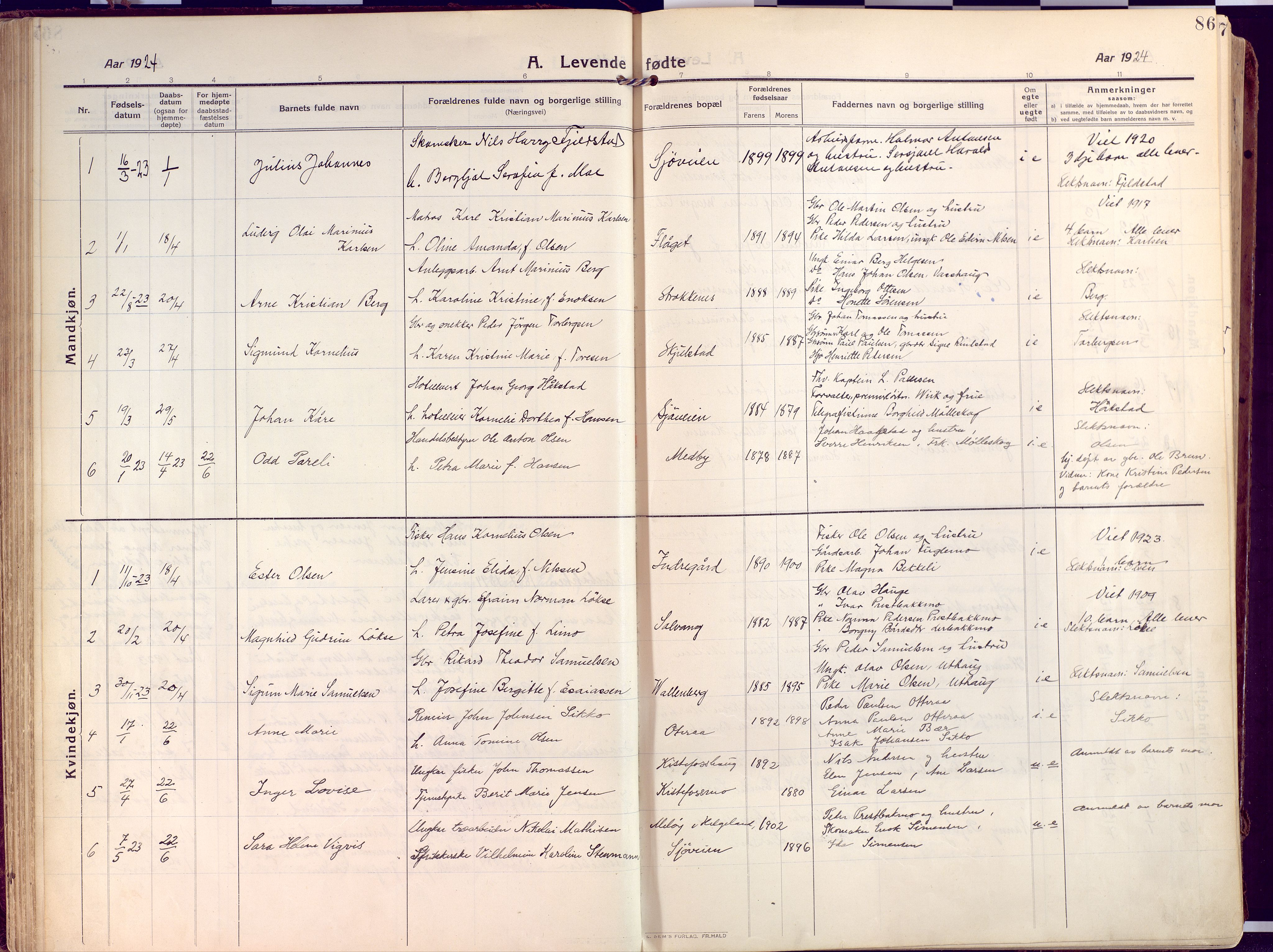 SATØ, Salangen sokneprestembete, Ministerialbok nr. 4, 1912-1927, s. 86