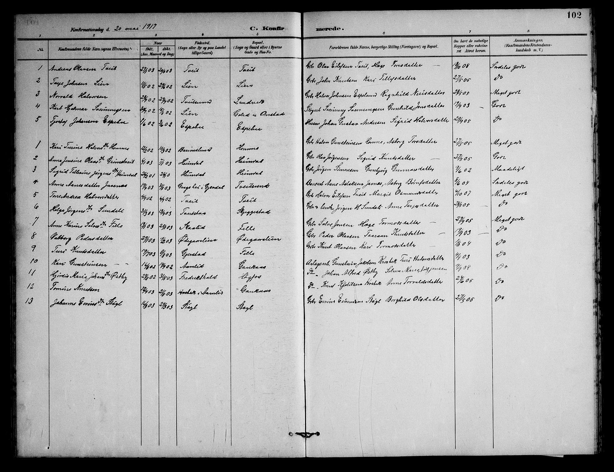 SAKO, Nissedal kirkebøker, G/Gb/L0003: Klokkerbok nr. II 3, 1893-1928, s. 102