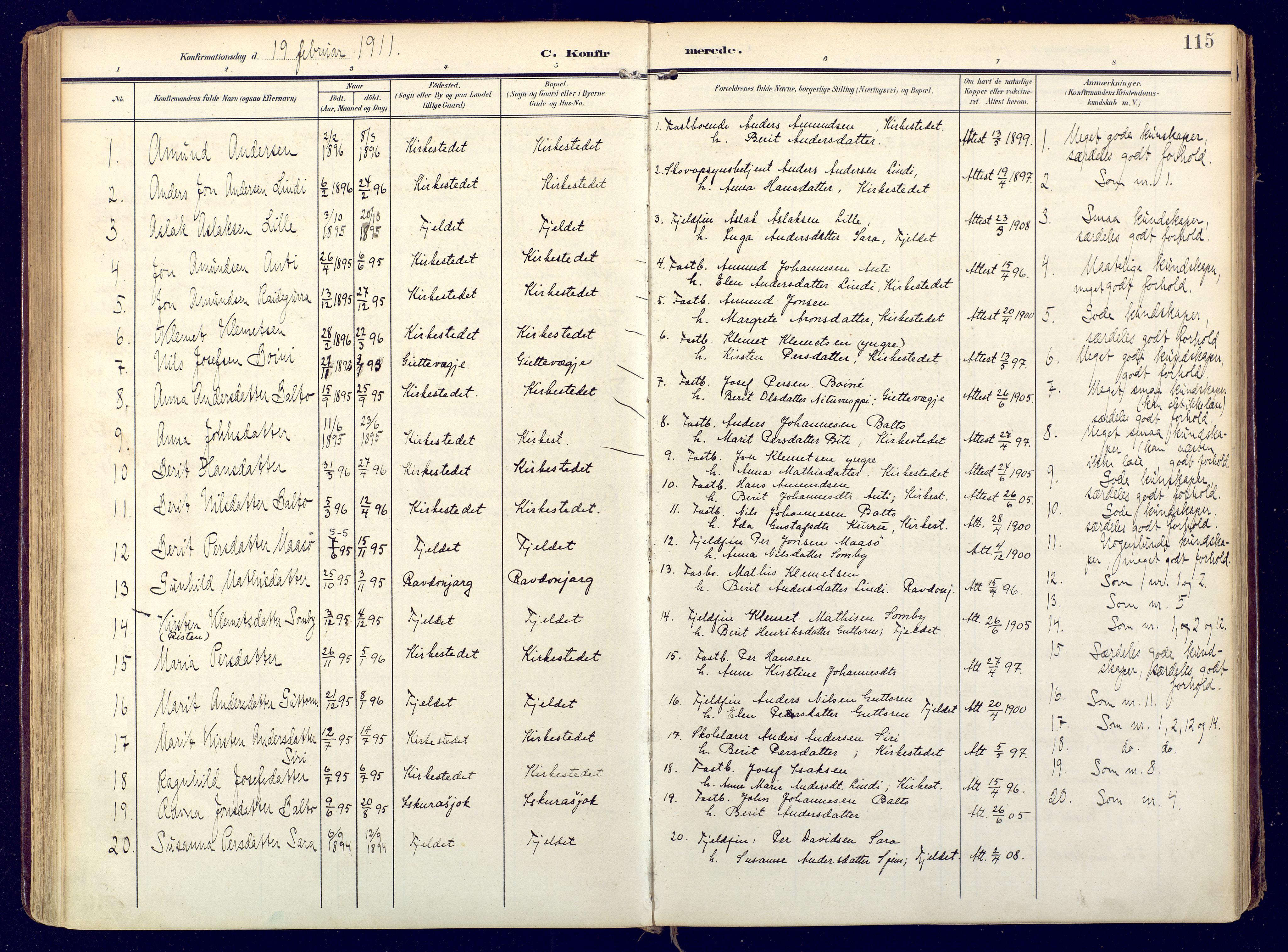 SATØ, Karasjok sokneprestkontor, H/Ha: Ministerialbok nr. 3, 1907-1926, s. 115