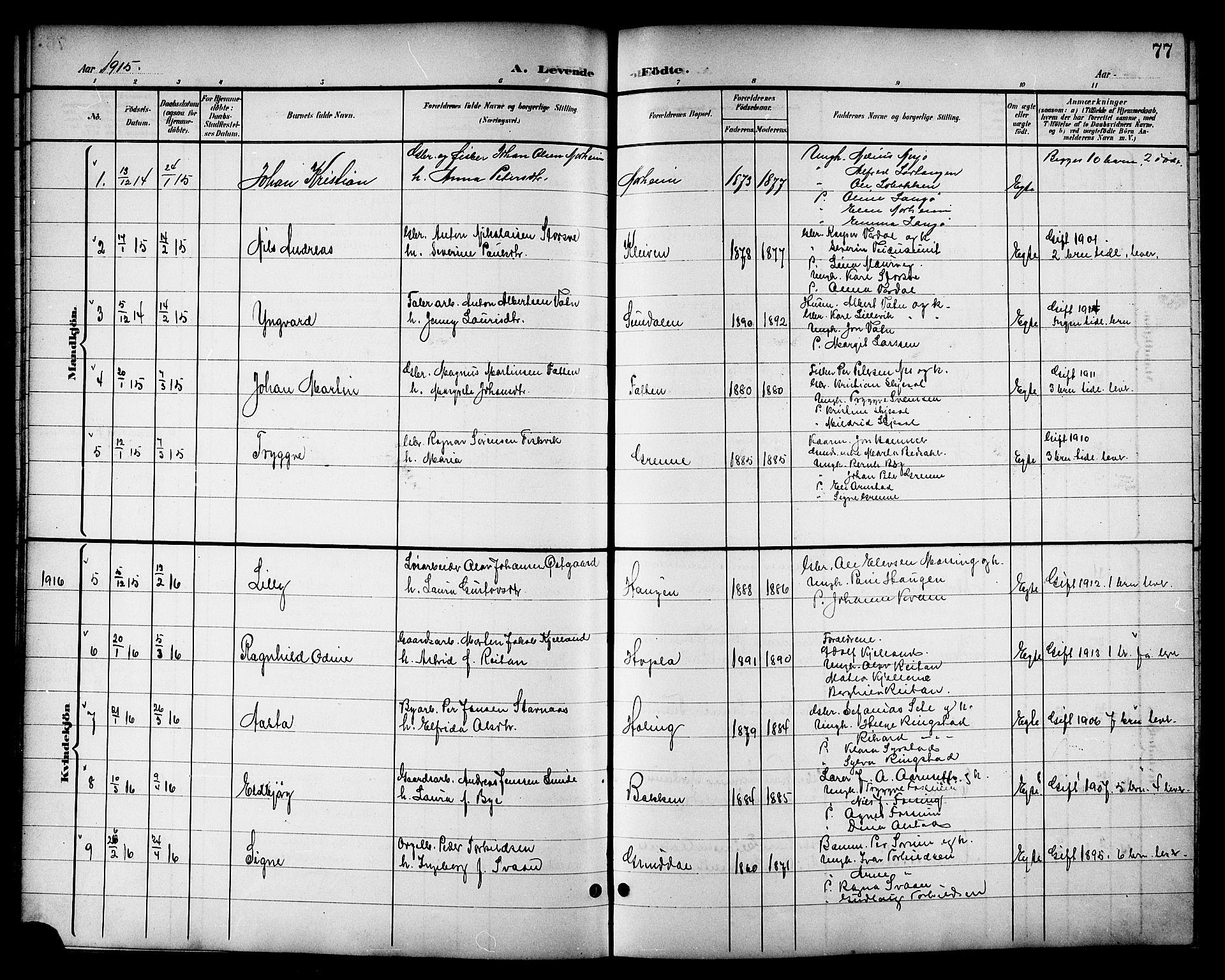 SAT, Ministerialprotokoller, klokkerbøker og fødselsregistre - Nord-Trøndelag, 714/L0135: Klokkerbok nr. 714C04, 1899-1918, s. 77
