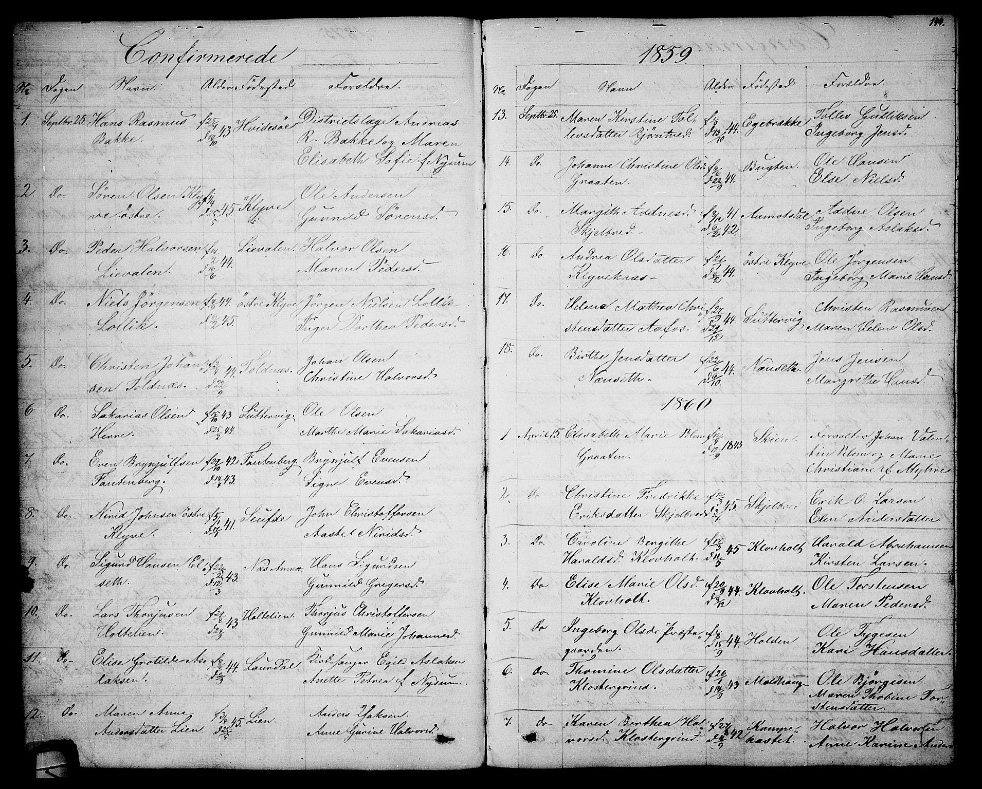 SAKO, Solum kirkebøker, G/Ga/L0004: Klokkerbok nr. I 4, 1859-1876, s. 144