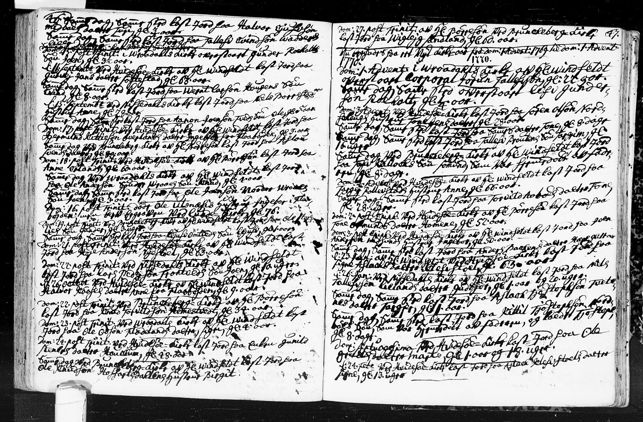 SAKO, Kviteseid kirkebøker, F/Fa/L0001: Ministerialbok nr. I 1, 1754-1773, s. 46-47