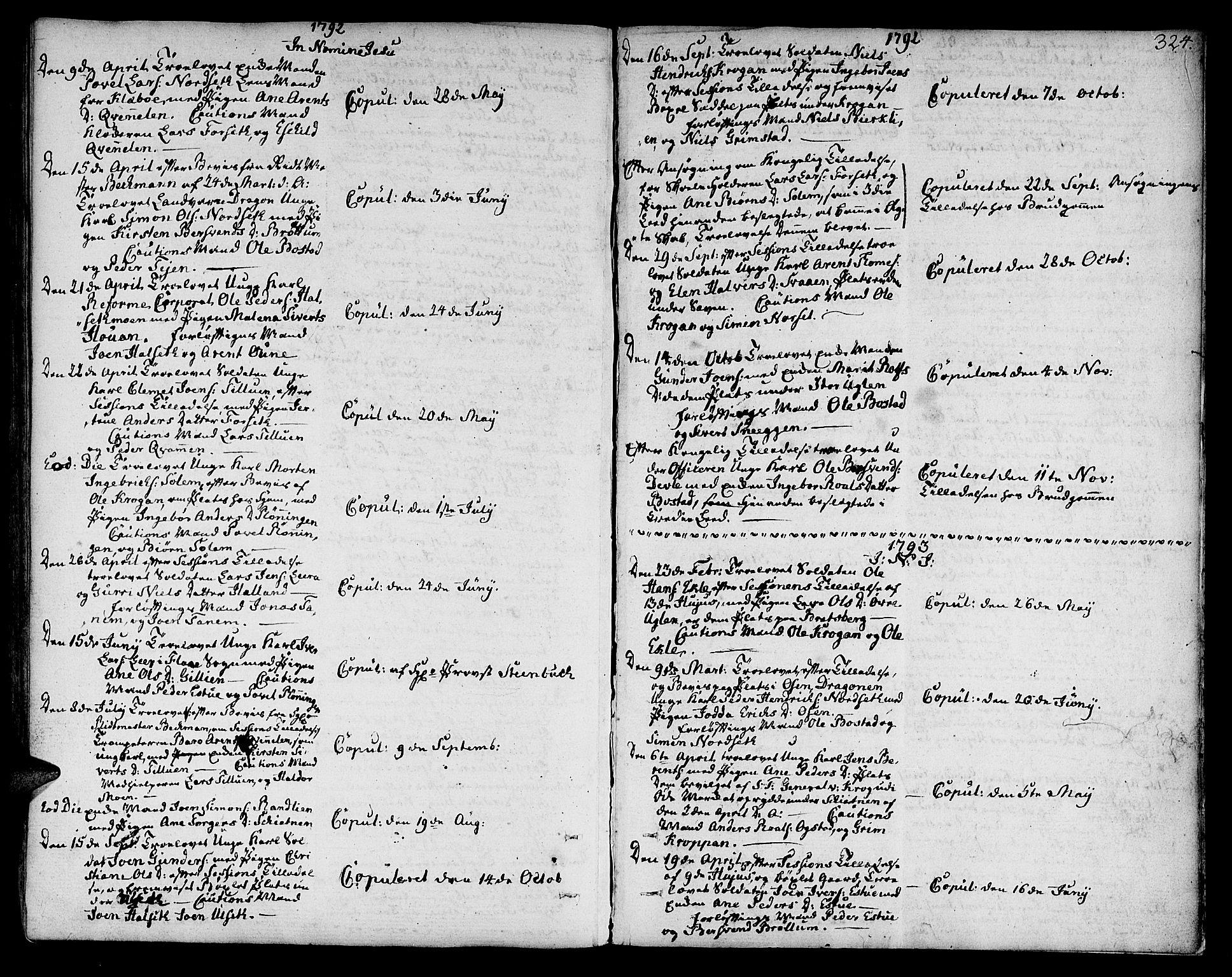 SAT, Ministerialprotokoller, klokkerbøker og fødselsregistre - Sør-Trøndelag, 618/L0438: Ministerialbok nr. 618A03, 1783-1815, s. 324