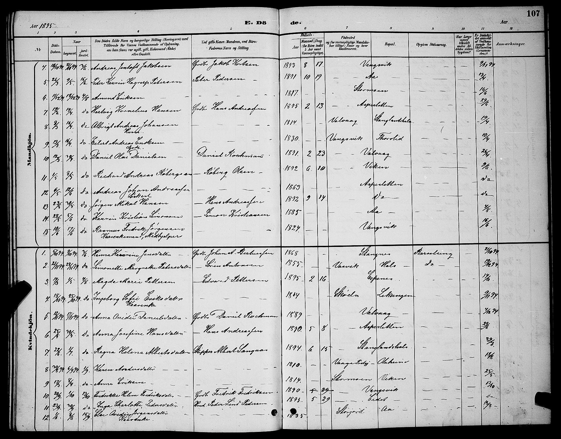 SATØ, Tranøy sokneprestkontor, I/Ia/Iab/L0004klokker: Klokkerbok nr. 4, 1888-1901, s. 107
