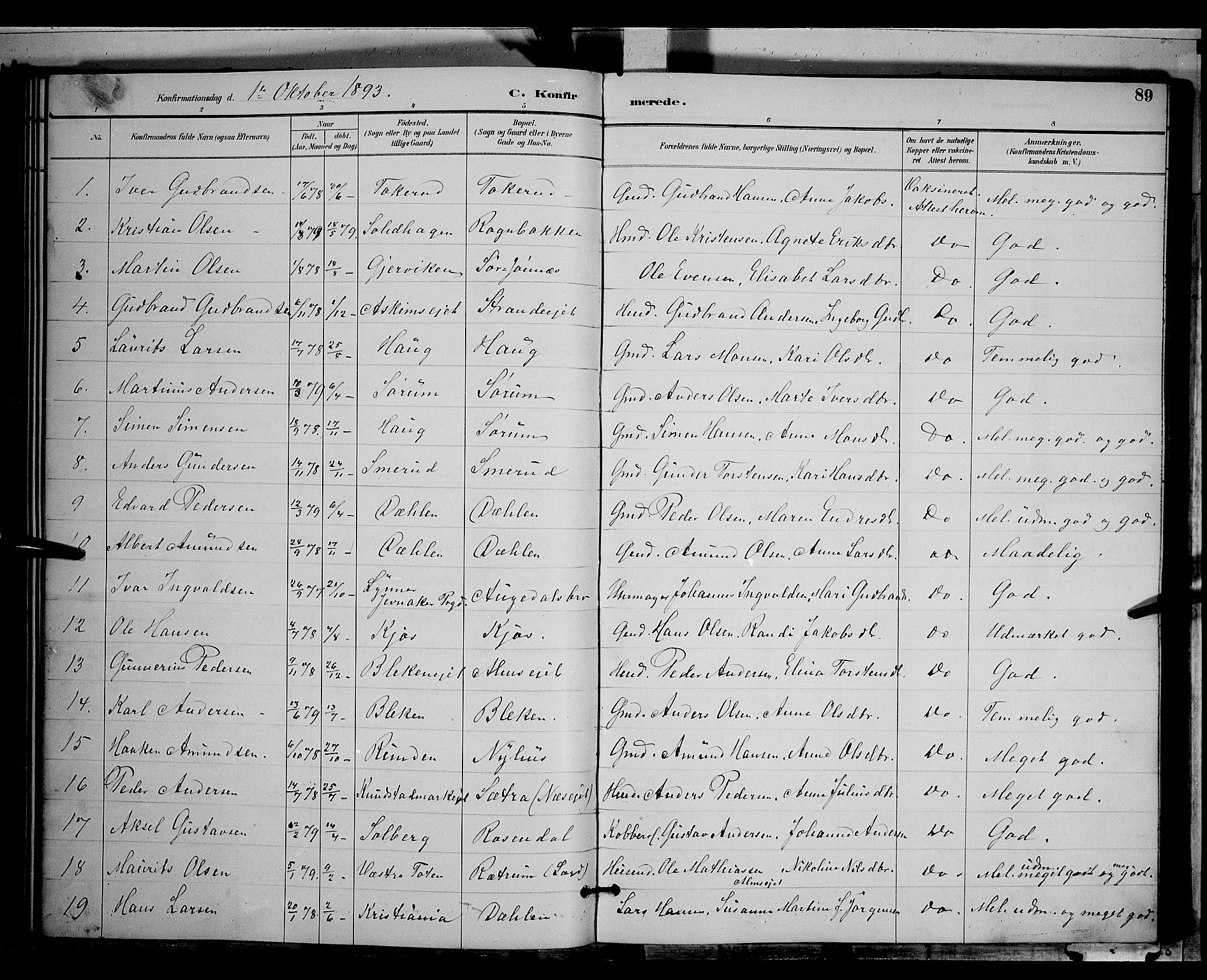 SAH, Gran prestekontor, Klokkerbok nr. 4, 1890-1899, s. 89