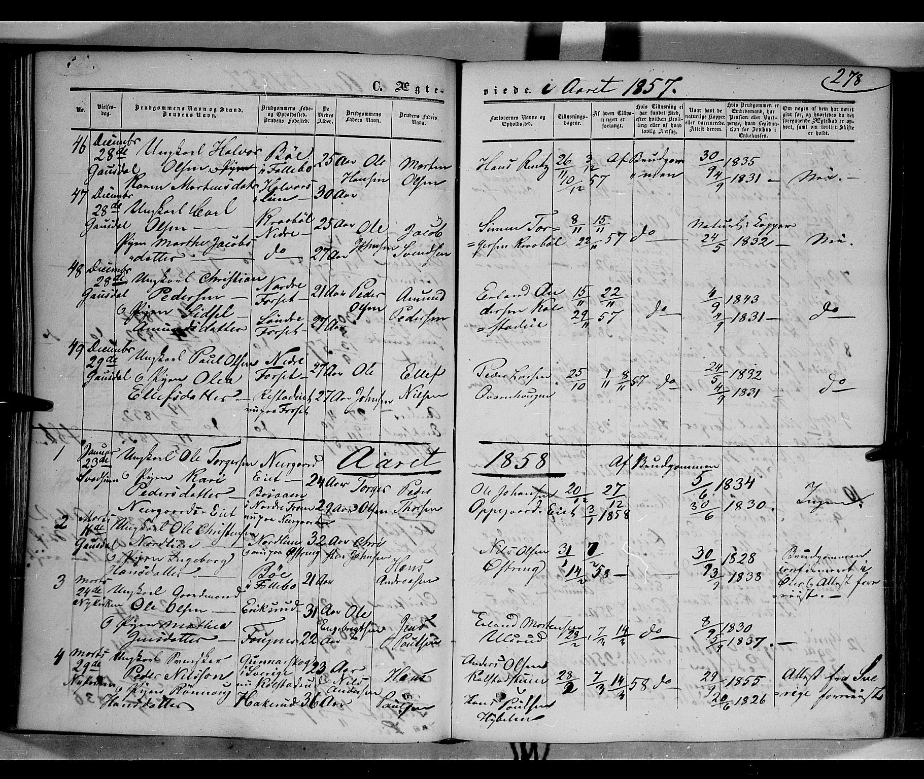SAH, Gausdal prestekontor, Ministerialbok nr. 8, 1850-1861, s. 278