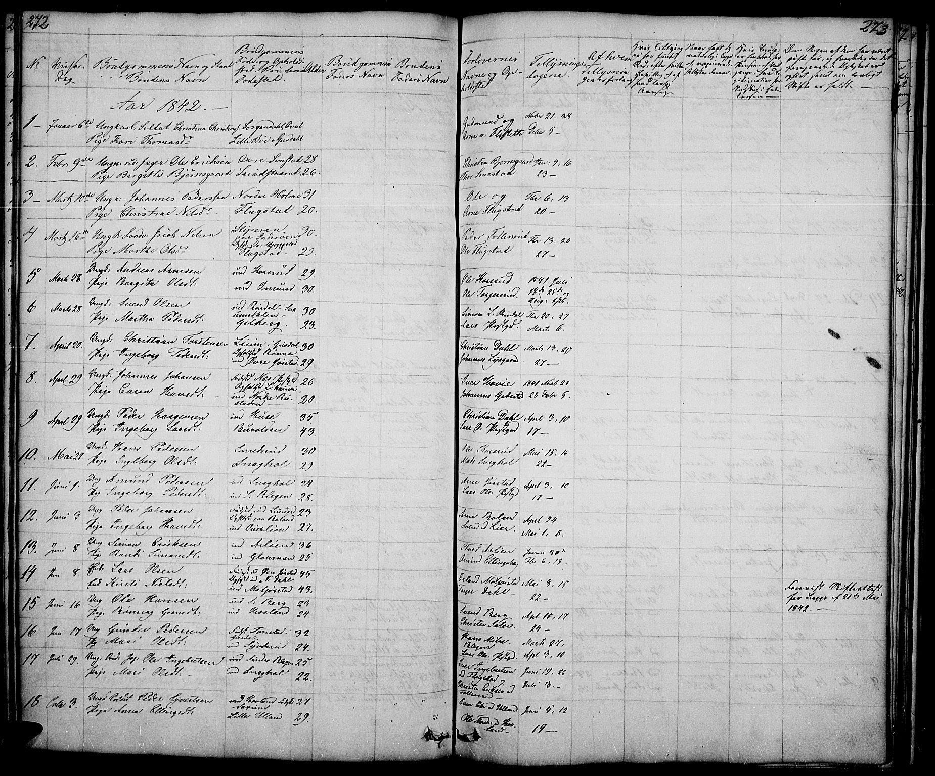 SAH, Fåberg prestekontor, Klokkerbok nr. 5, 1837-1864, s. 272-273