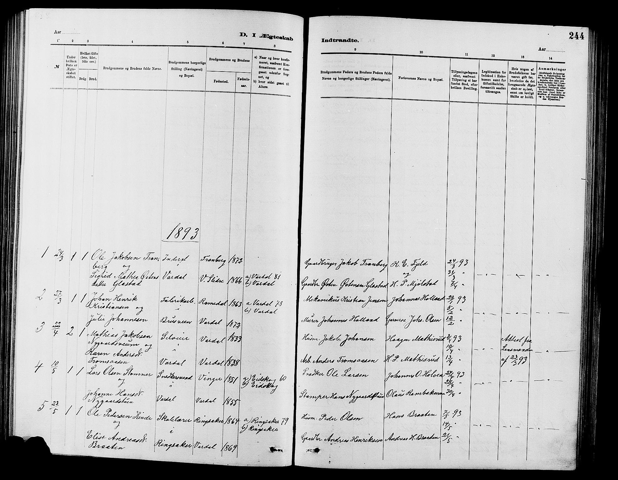 SAH, Vardal prestekontor, H/Ha/Hab/L0007: Klokkerbok nr. 7 /1, 1881-1895, s. 244