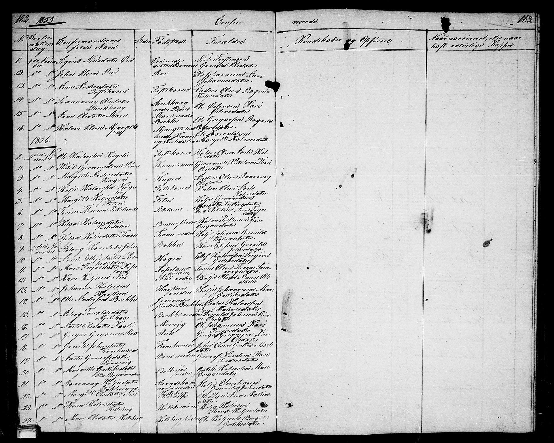 SAKO, Gransherad kirkebøker, G/Ga/L0002: Klokkerbok nr. I 2, 1854-1886, s. 182-183