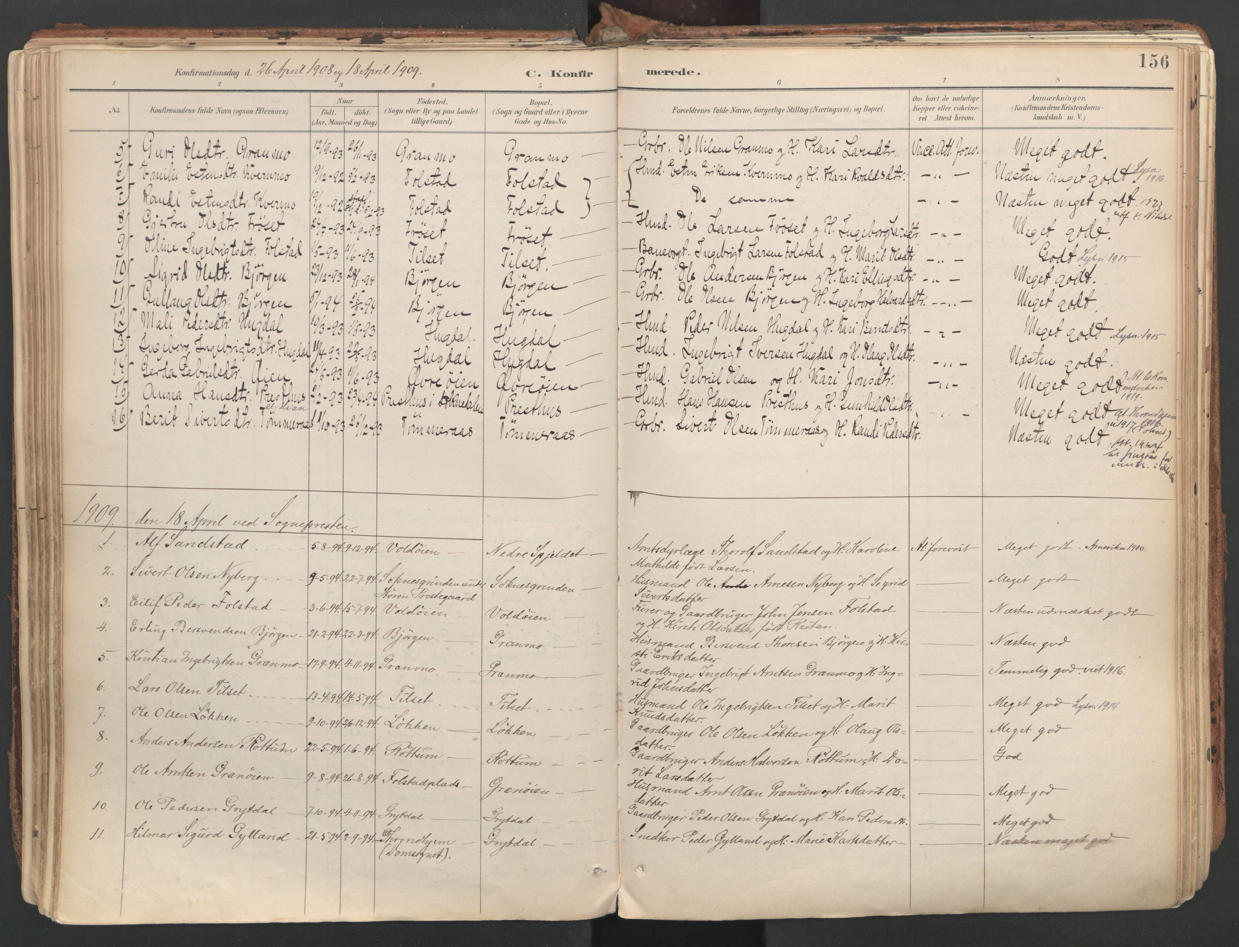SAT, Ministerialprotokoller, klokkerbøker og fødselsregistre - Sør-Trøndelag, 687/L1004: Ministerialbok nr. 687A10, 1891-1923, s. 156