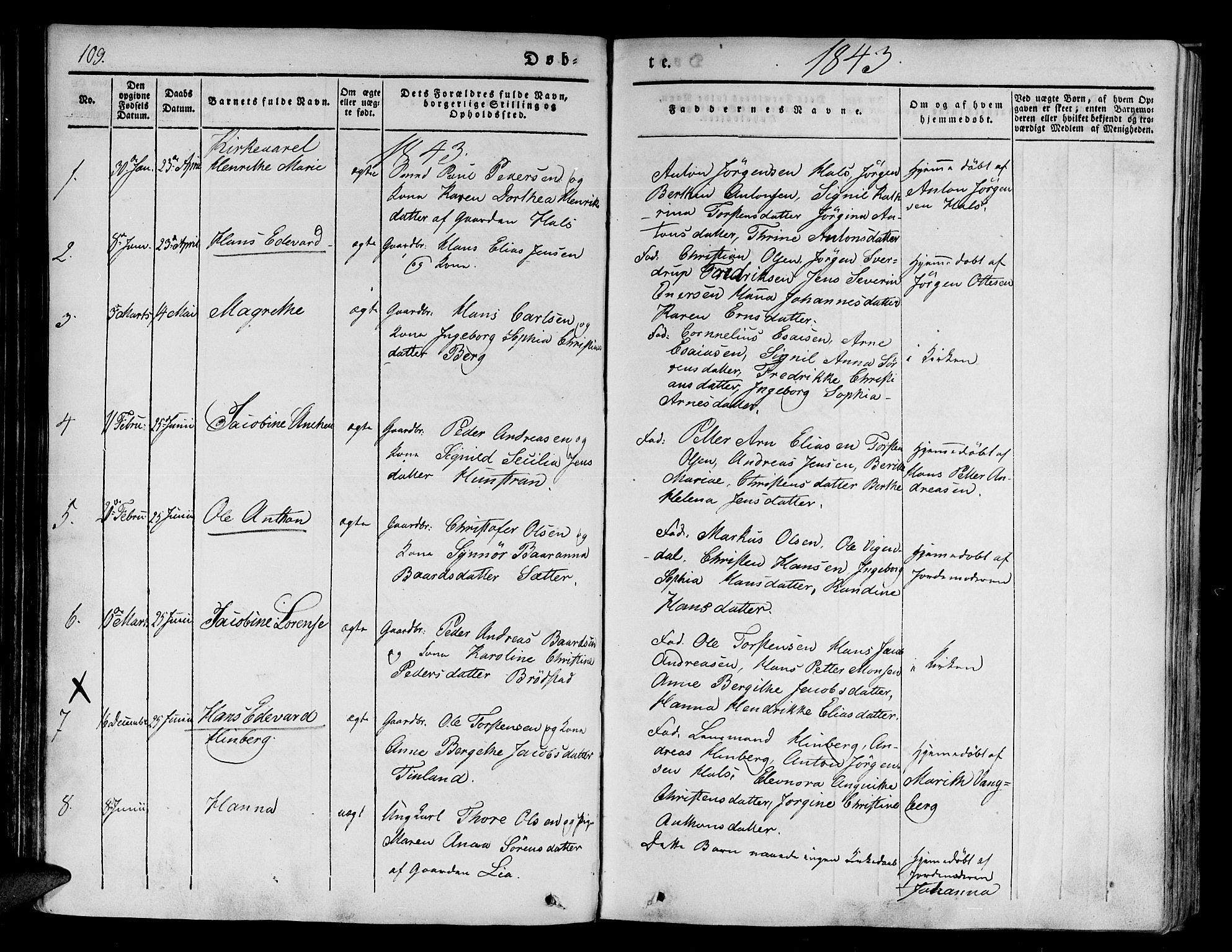 SATØ, Tranøy sokneprestkontor, I/Ia/Iaa/L0005kirke: Ministerialbok nr. 5, 1829-1844, s. 109