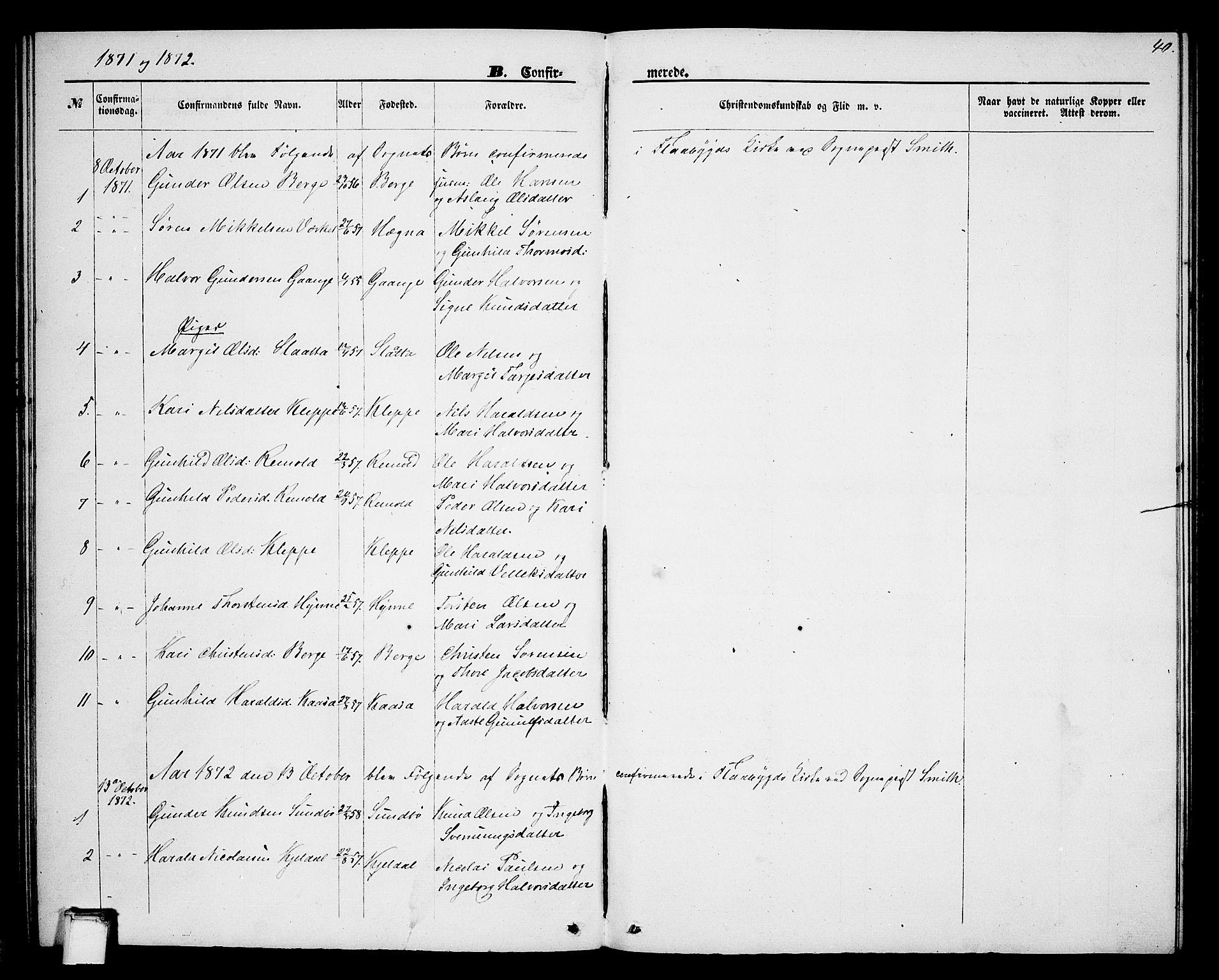 SAKO, Lunde kirkebøker, G/Gb/L0001: Klokkerbok nr. II 1, 1866-1887, s. 40