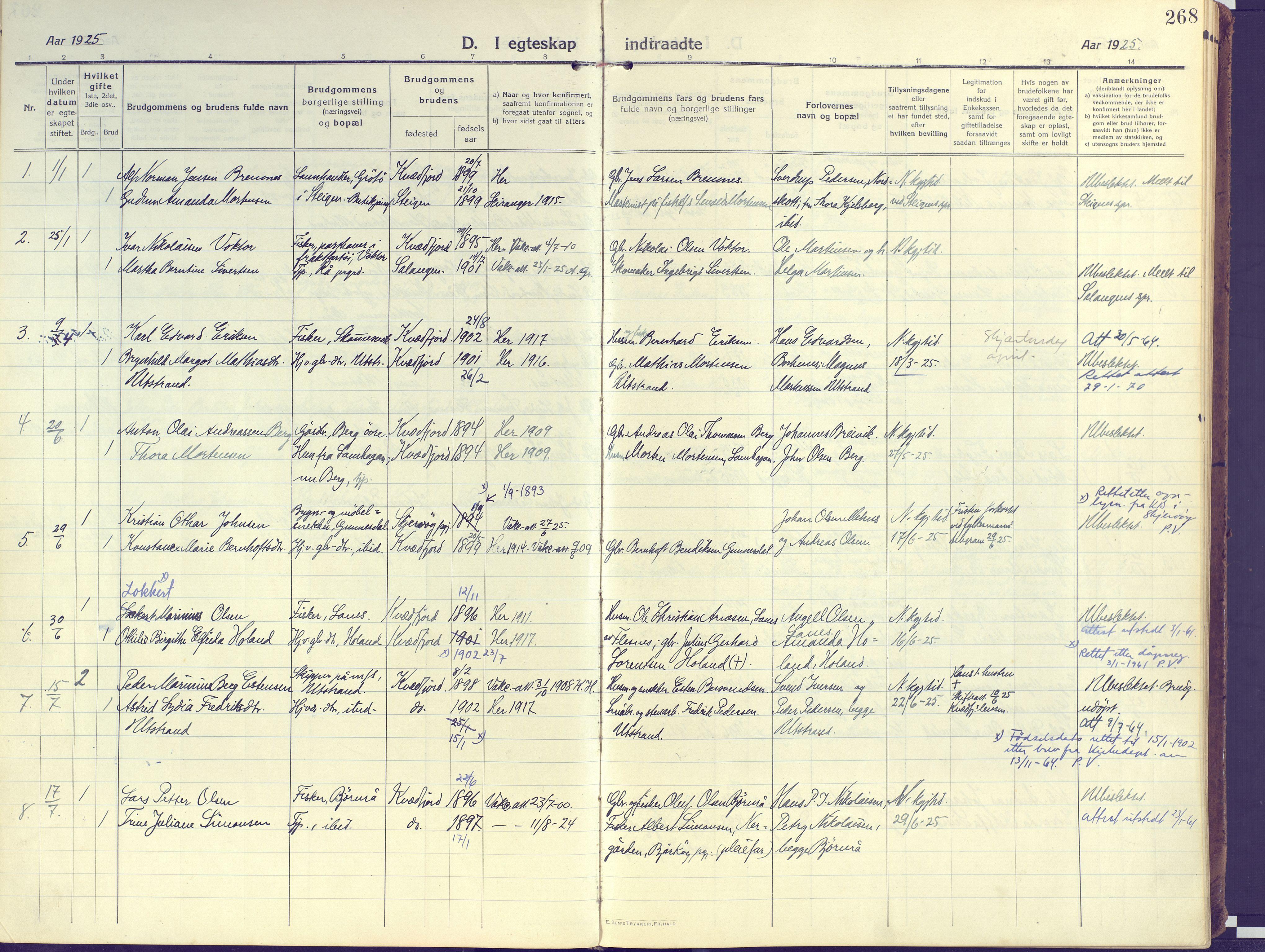 SATØ, Kvæfjord sokneprestkontor, G/Ga/Gaa/L0007kirke: Ministerialbok nr. 7, 1915-1931, s. 268