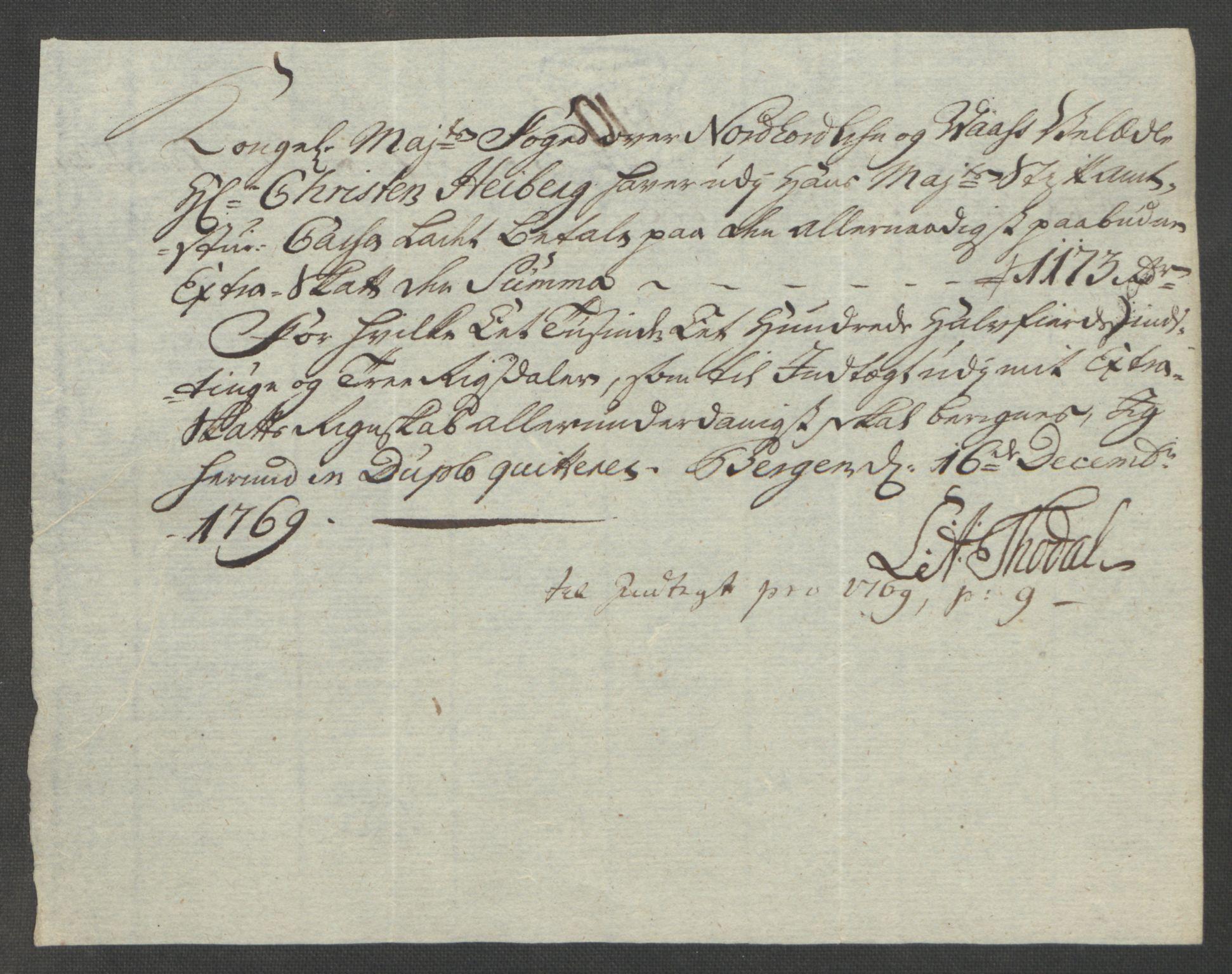 RA, Rentekammeret inntil 1814, Reviderte regnskaper, Fogderegnskap, R51/L3303: Ekstraskatten Nordhordland og Voss, 1762-1772, s. 374
