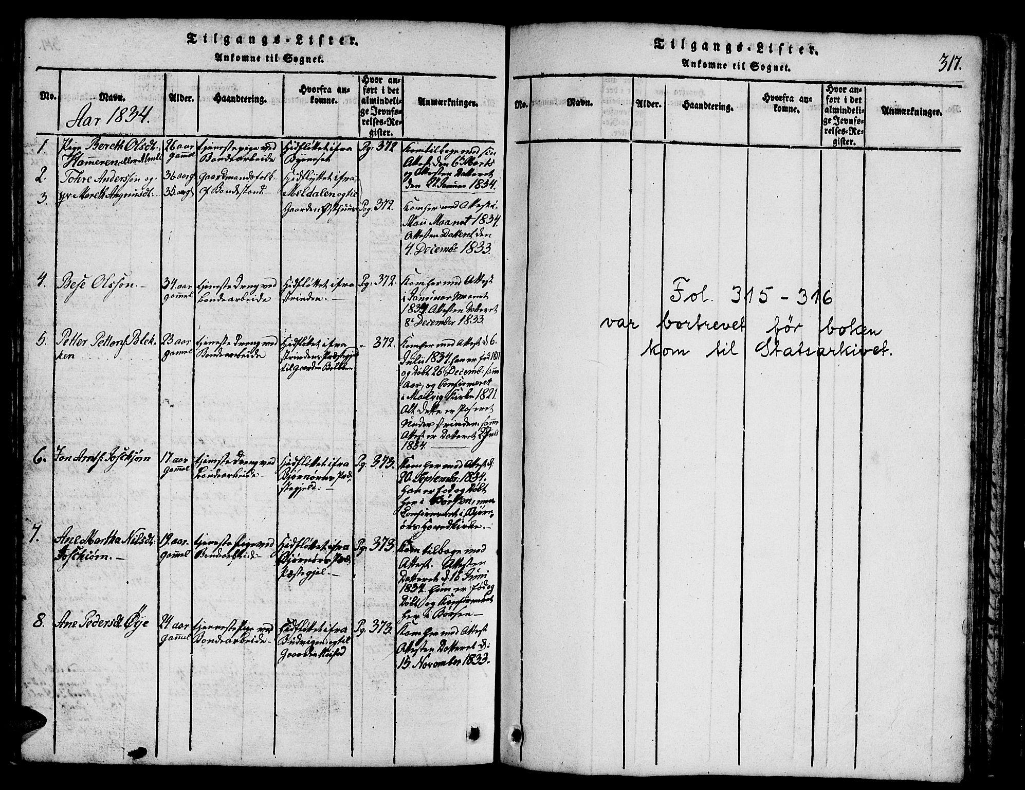 SAT, Ministerialprotokoller, klokkerbøker og fødselsregistre - Sør-Trøndelag, 665/L0776: Klokkerbok nr. 665C01, 1817-1837, s. 317