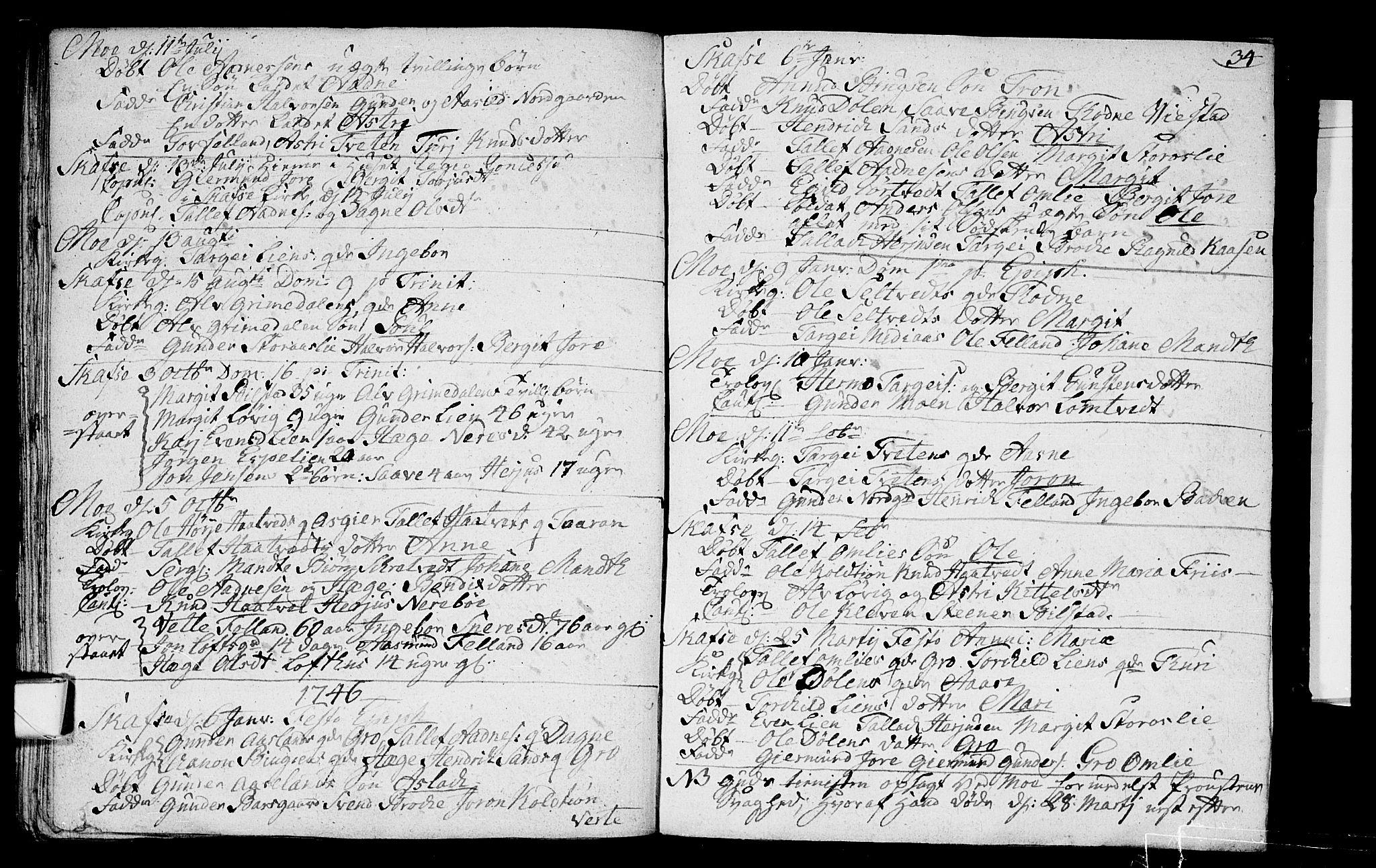 SAKO, Mo kirkebøker, F/Fa/L0001: Ministerialbok nr. I 1, 1724-1748, s. 34
