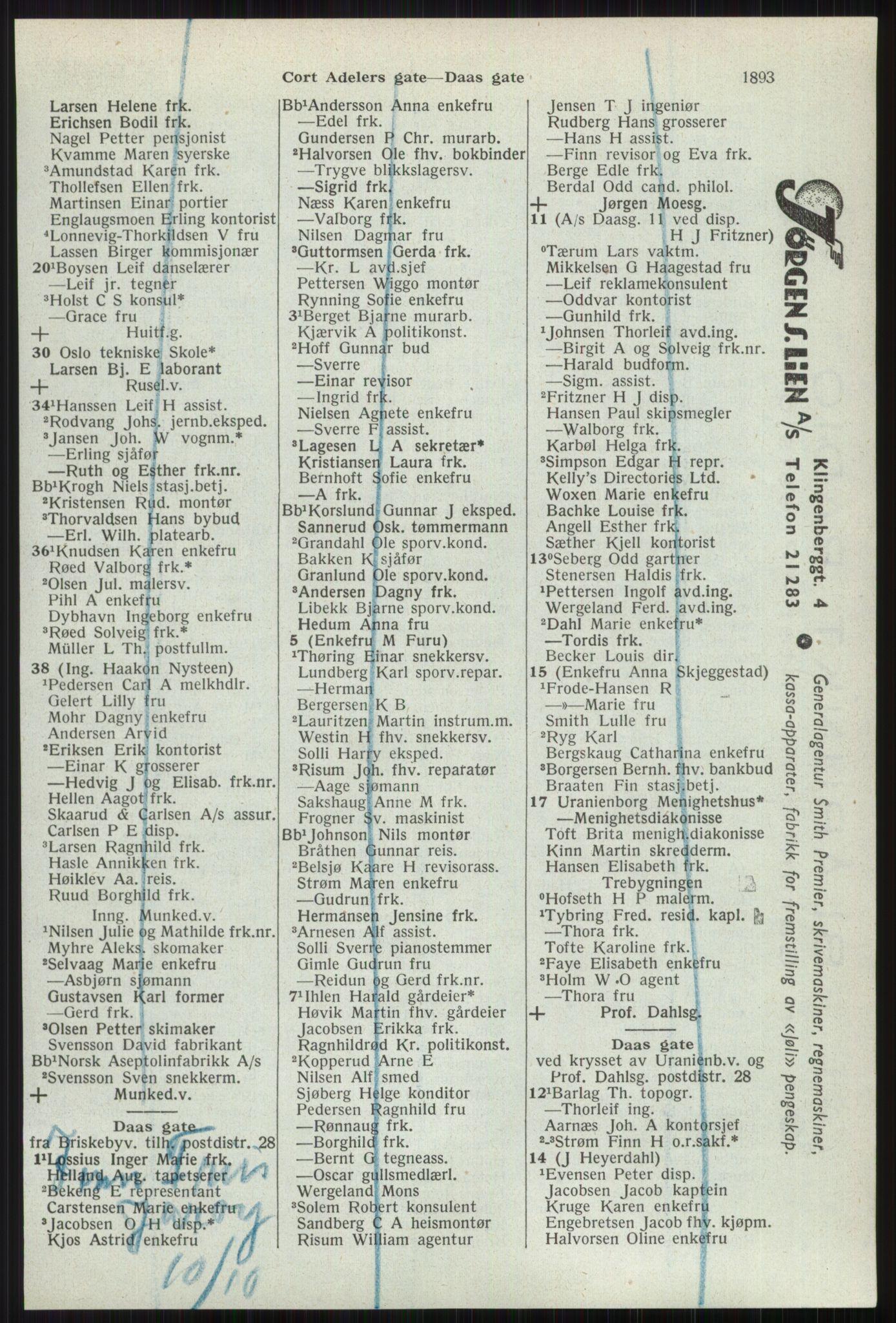 RA, Oslo adressebok (publikasjon)*, 1941, s. 1893