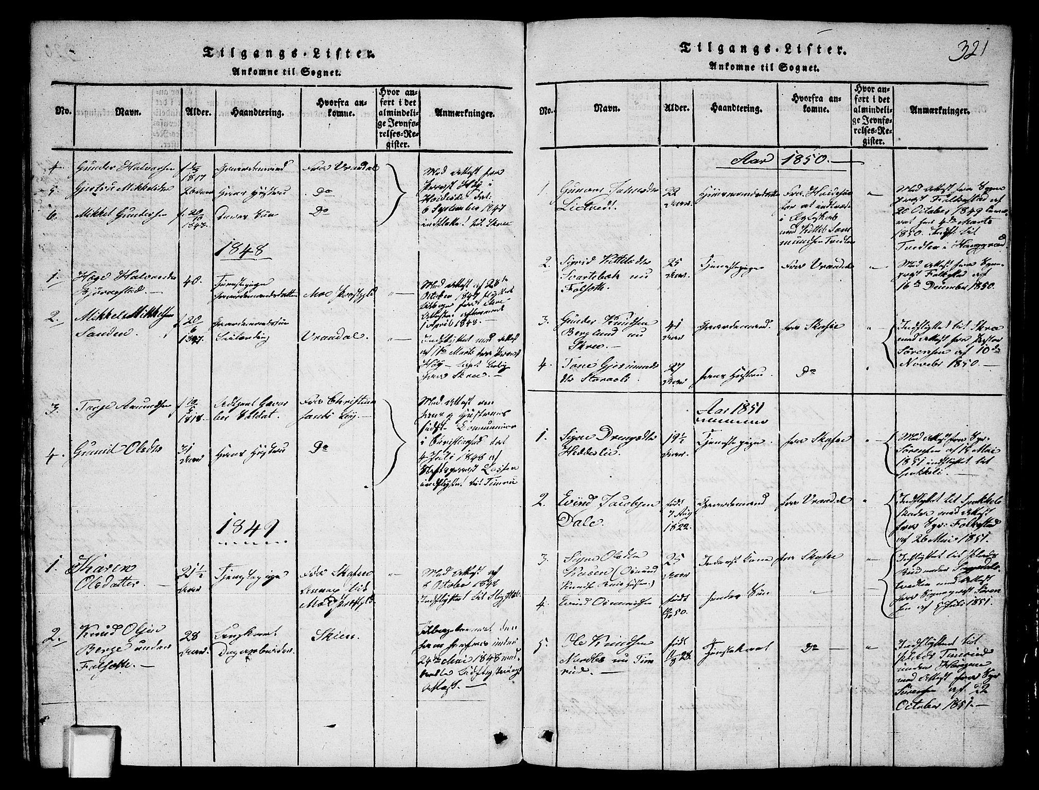 SAKO, Fyresdal kirkebøker, G/Ga/L0003: Klokkerbok nr. I 3, 1815-1863, s. 321