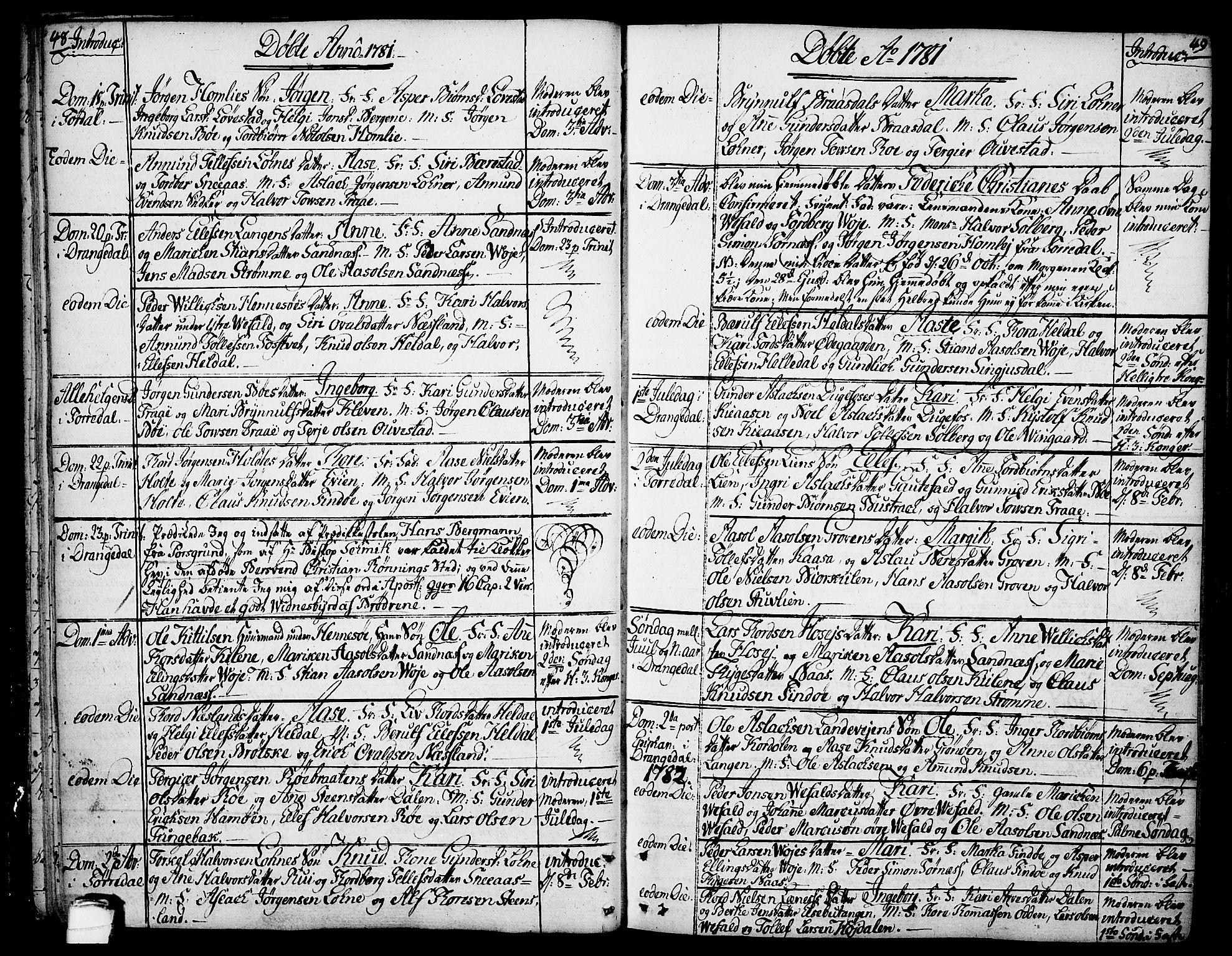 SAKO, Drangedal kirkebøker, F/Fa/L0003: Ministerialbok nr. 3, 1768-1814, s. 48-49