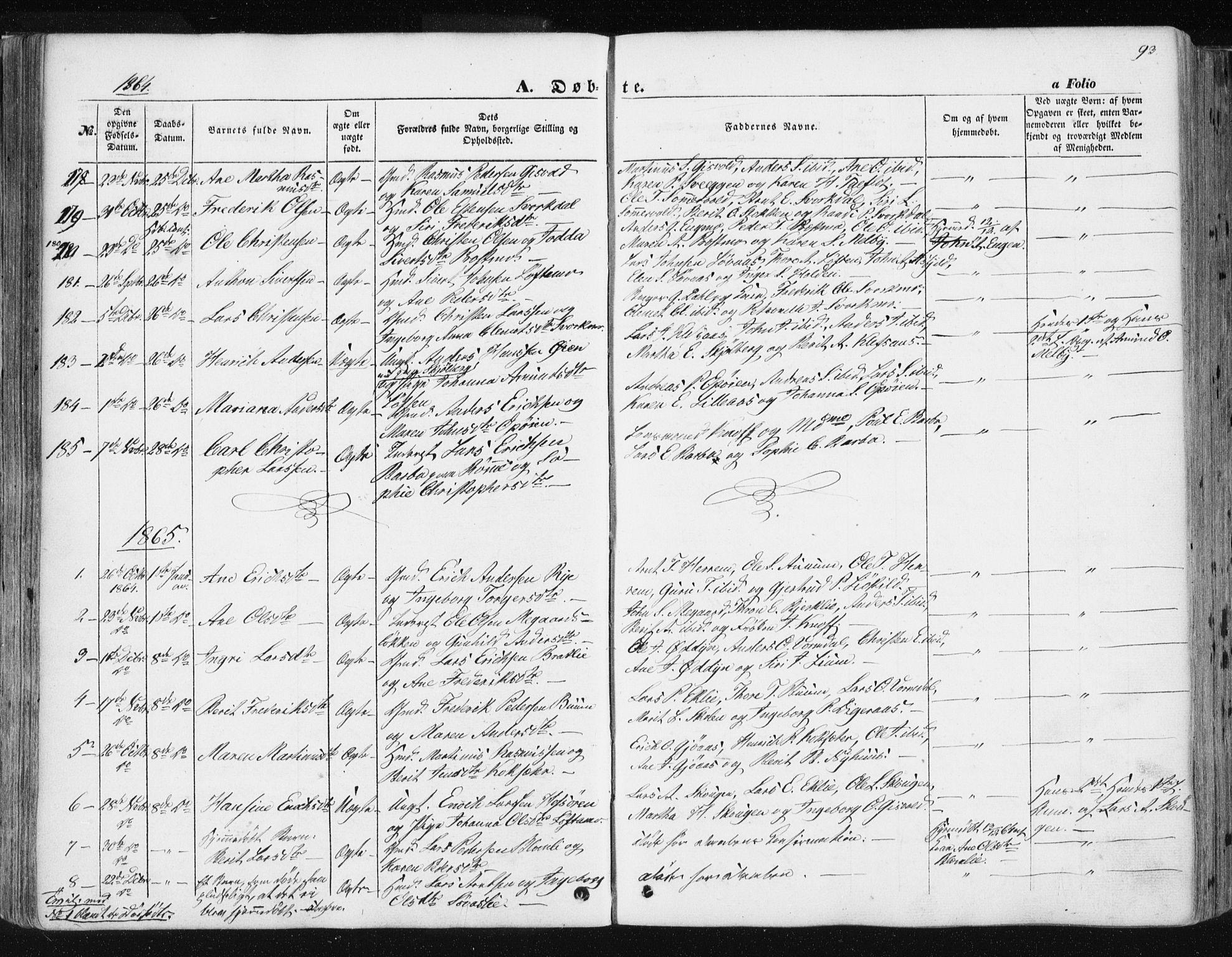 SAT, Ministerialprotokoller, klokkerbøker og fødselsregistre - Sør-Trøndelag, 668/L0806: Ministerialbok nr. 668A06, 1854-1869, s. 93