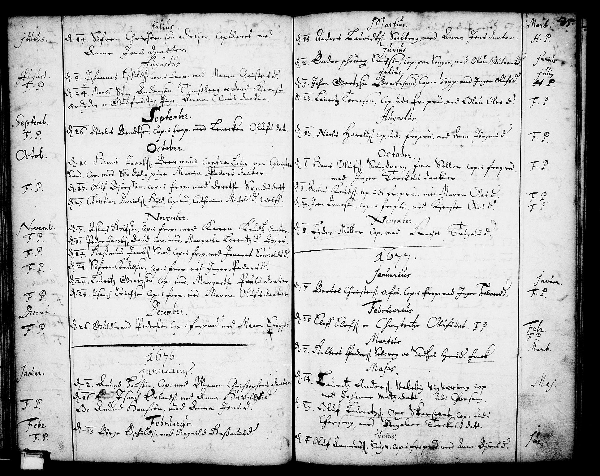 SAKO, Skien kirkebøker, F/Fa/L0001: Ministerialbok nr. 1, 1659-1679, s. 35