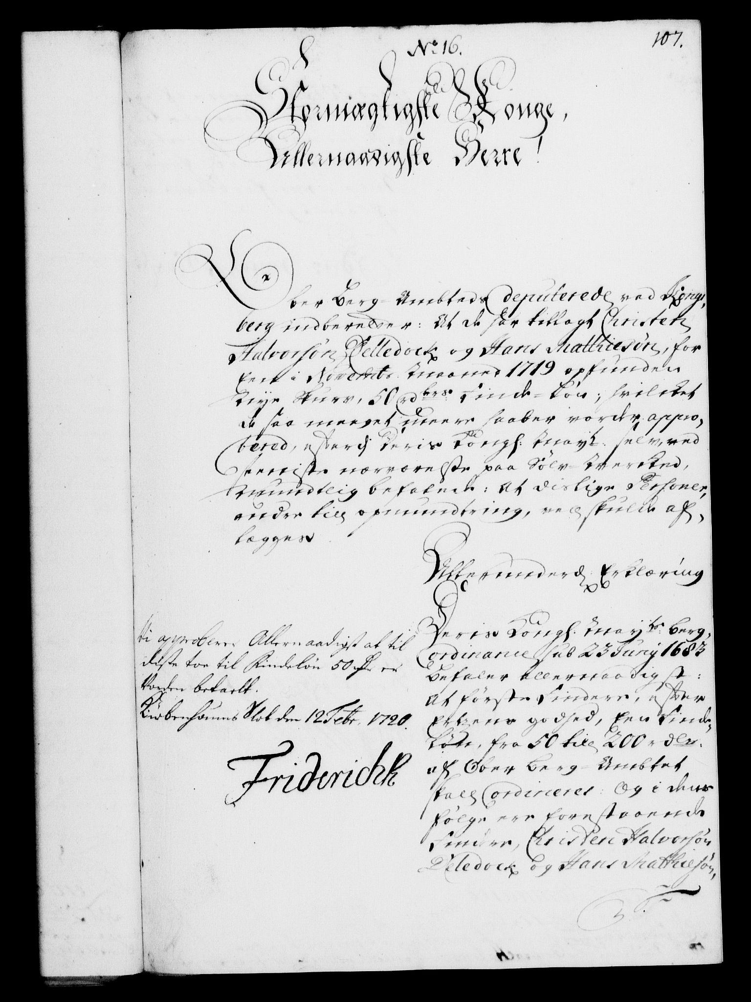 RA, Rentekammeret, Kammerkanselliet, G/Gf/Gfa/L0002: Norsk relasjons- og resolusjonsprotokoll (merket RK 52.2), 1720, s. 107
