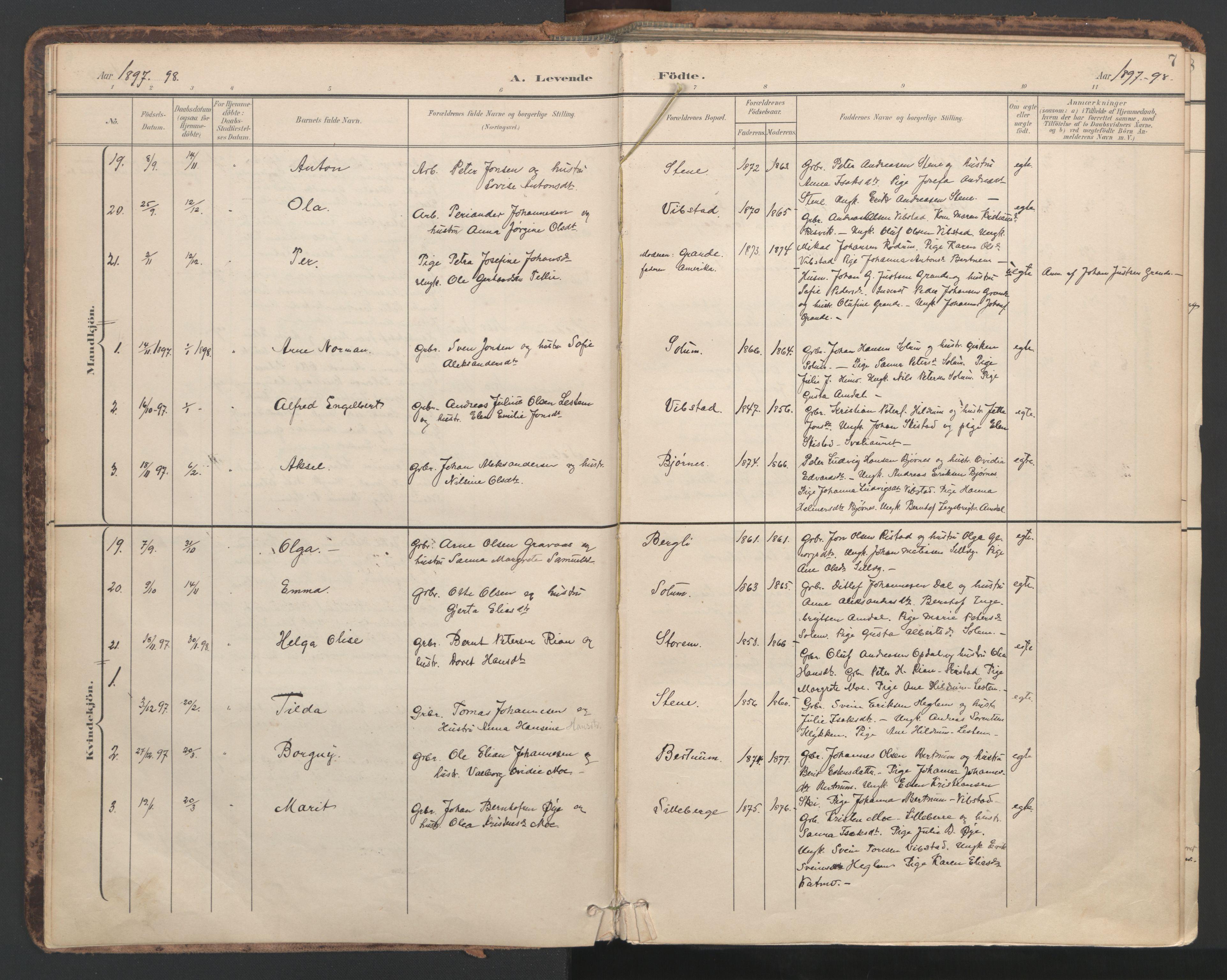 SAT, Ministerialprotokoller, klokkerbøker og fødselsregistre - Nord-Trøndelag, 764/L0556: Ministerialbok nr. 764A11, 1897-1924, s. 7