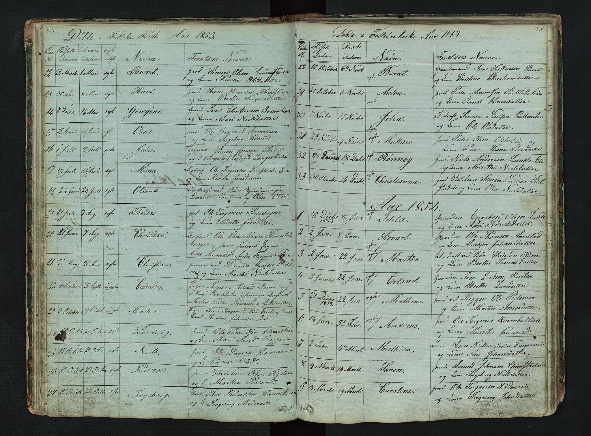 SAH, Gausdal prestekontor, Klokkerbok nr. 6, 1846-1893, s. 84-85