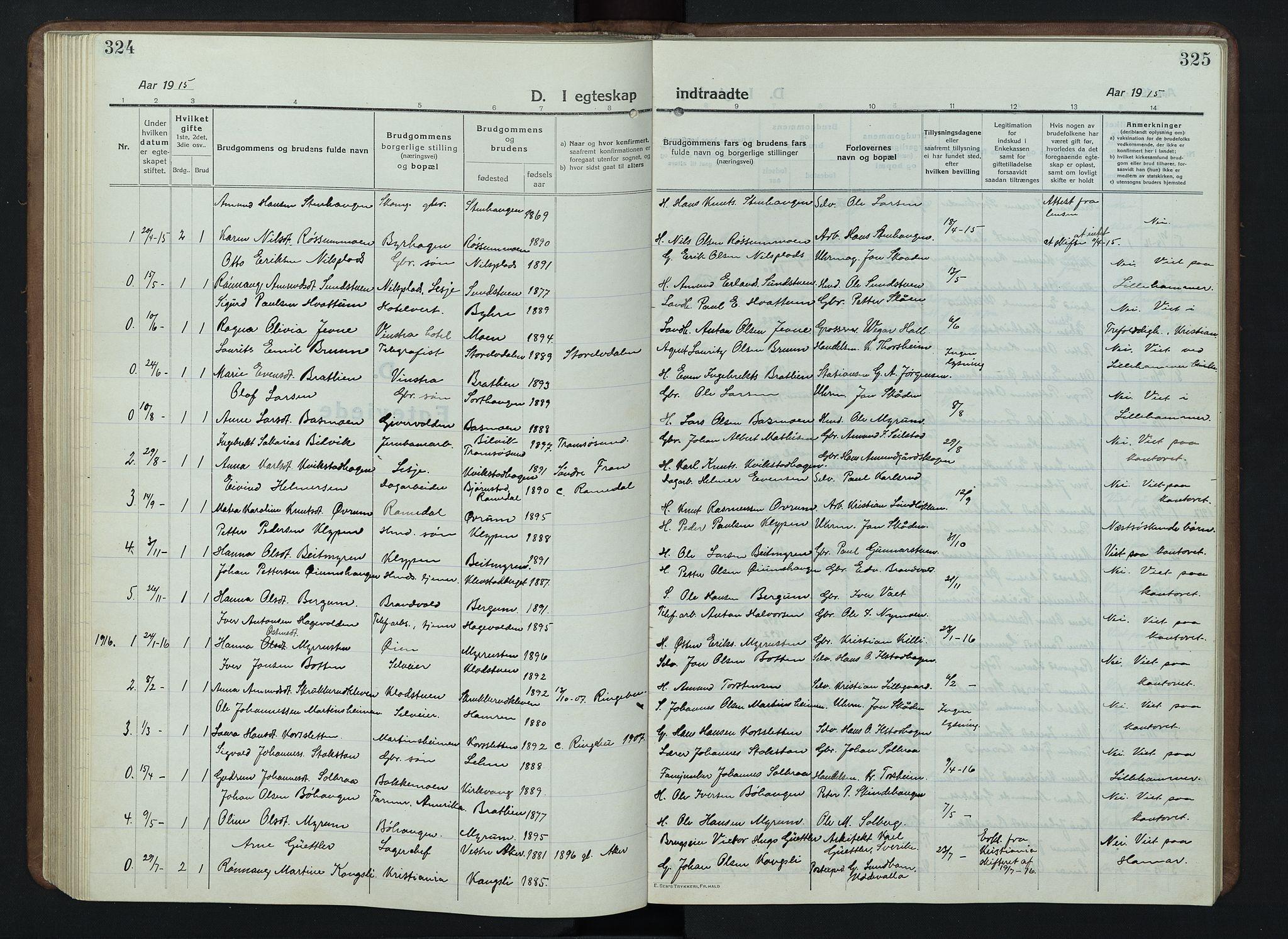 SAH, Nord-Fron prestekontor, Klokkerbok nr. 7, 1915-1946, s. 324-325