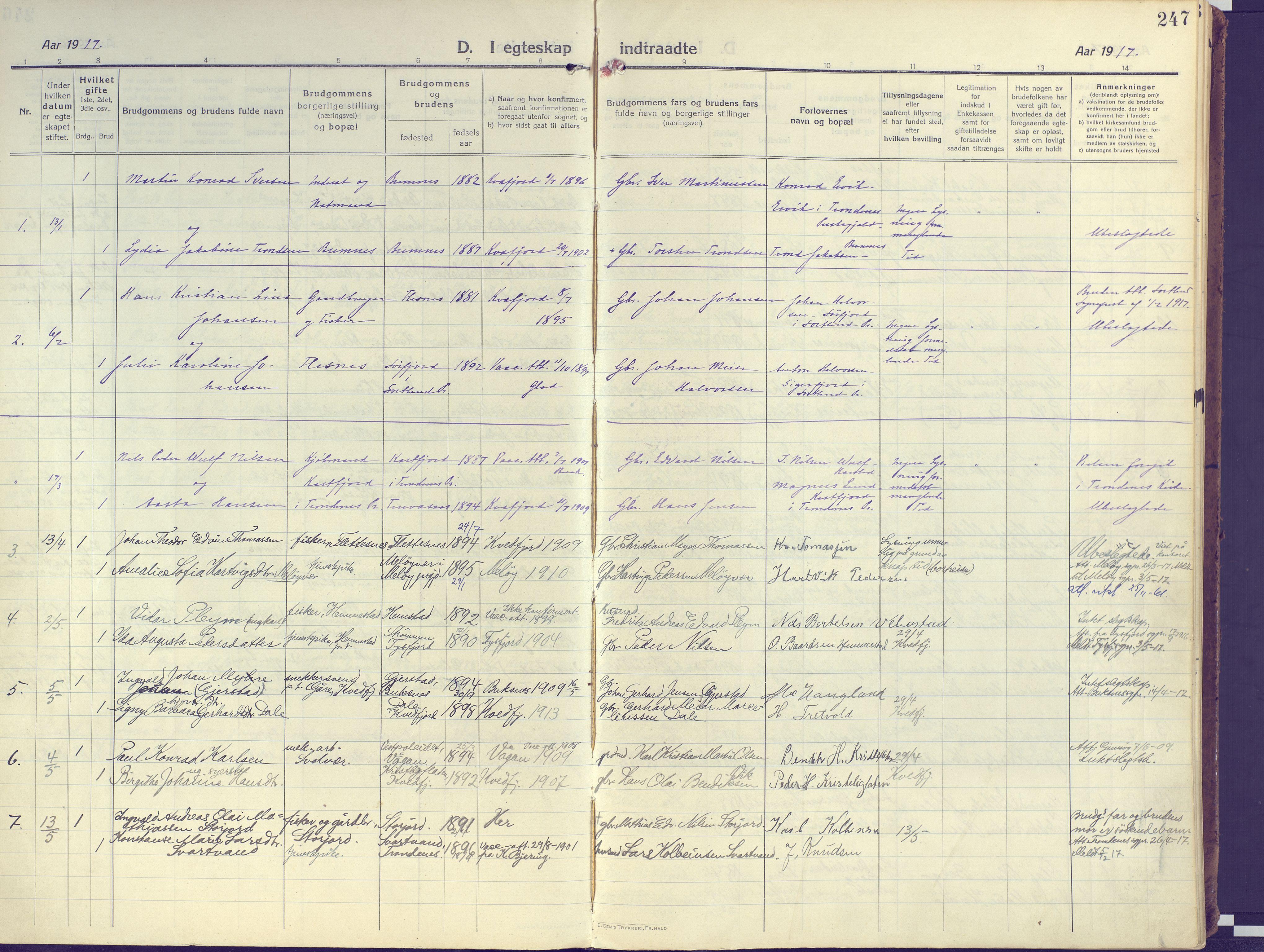 SATØ, Kvæfjord sokneprestkontor, G/Ga/Gaa/L0007kirke: Ministerialbok nr. 7, 1915-1931, s. 247